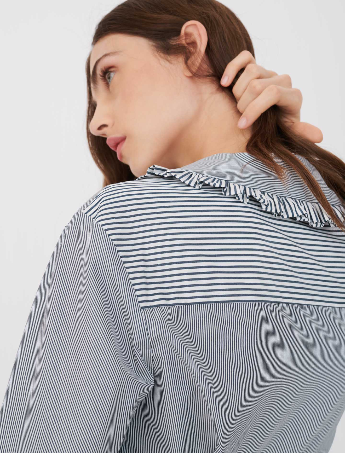 Striped shirt with large collar - Grey