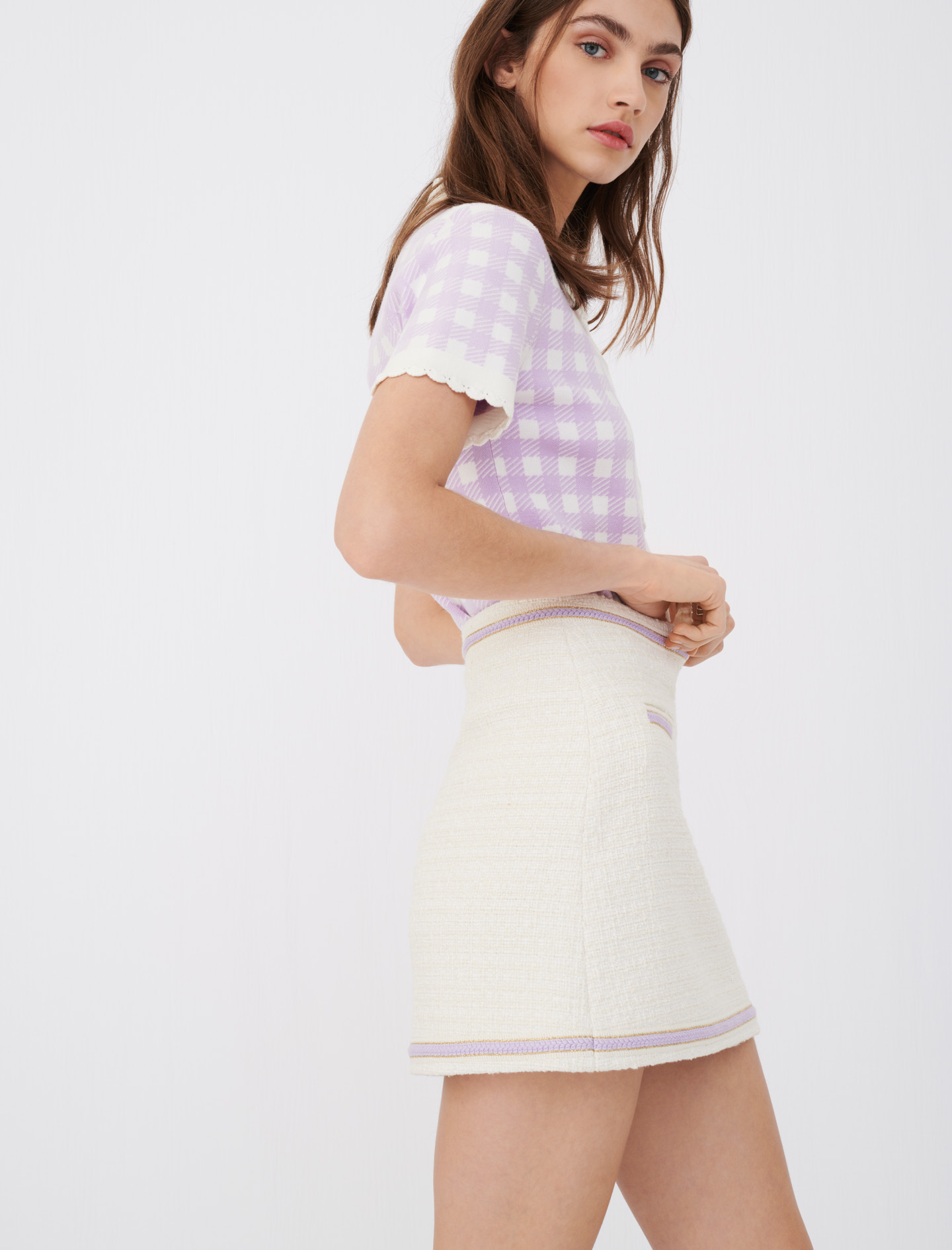 Ecru tweed skirt with contrast piping by maje paris