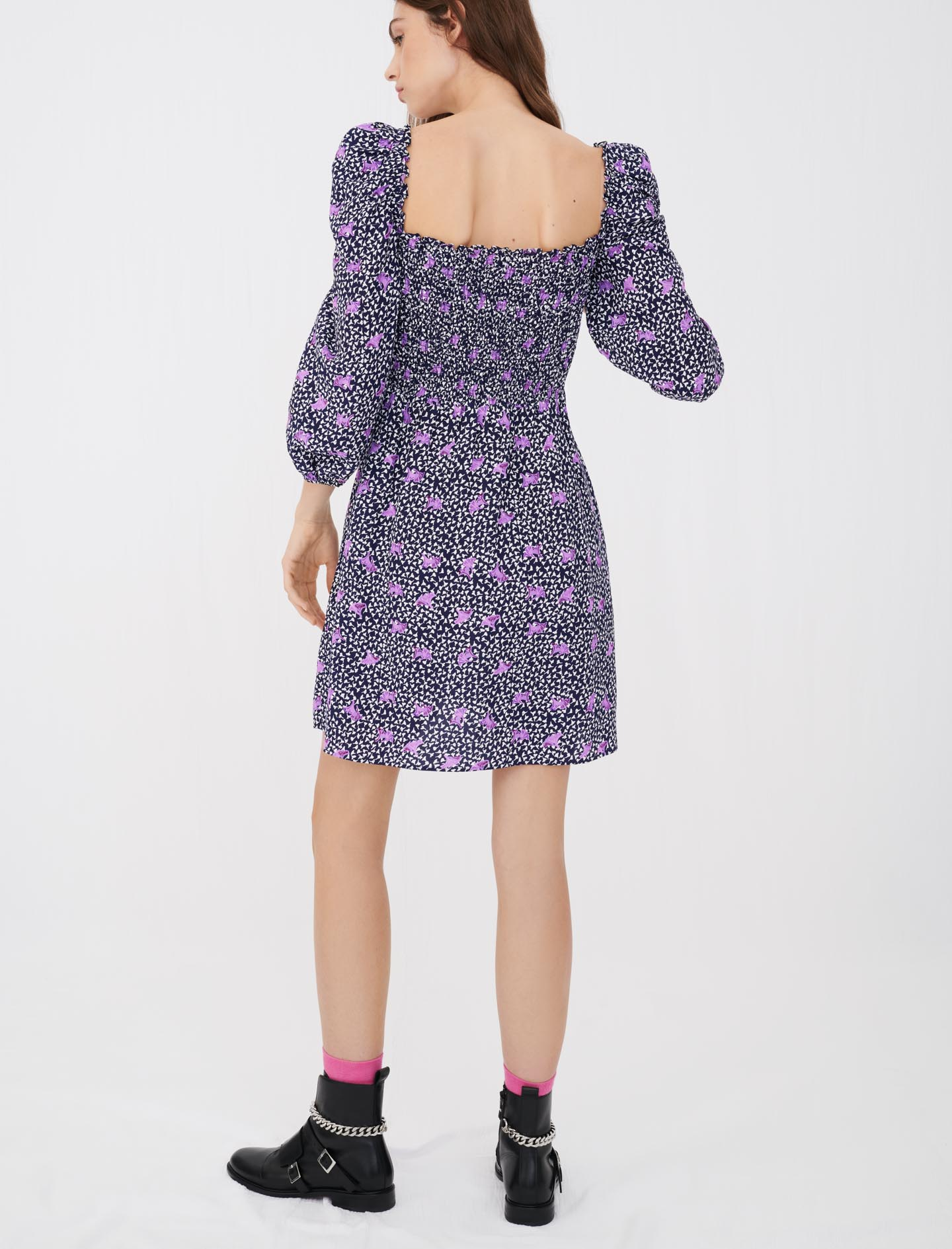 Printed linen dress with smocking - Multiclr