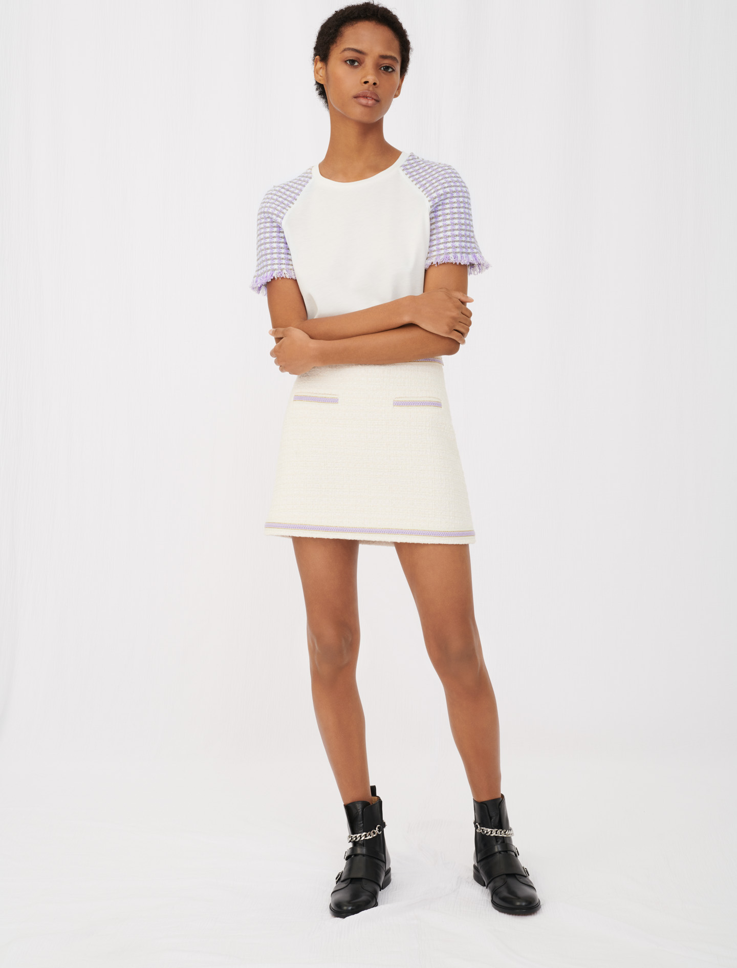 Jersey T-shirt with tweed sleeves - Multiclr