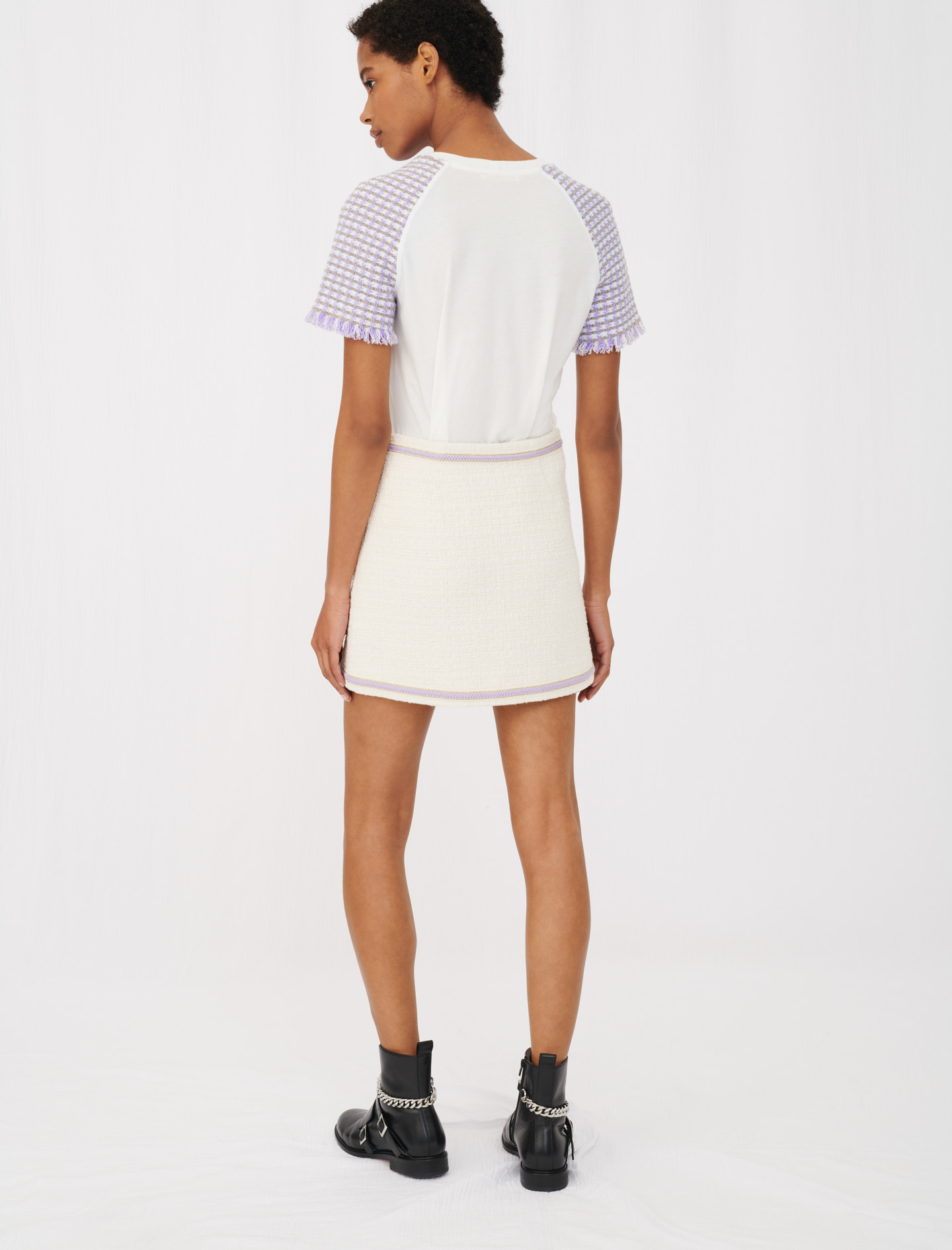 Sandro Jersey T-shirt with tweed sleeves