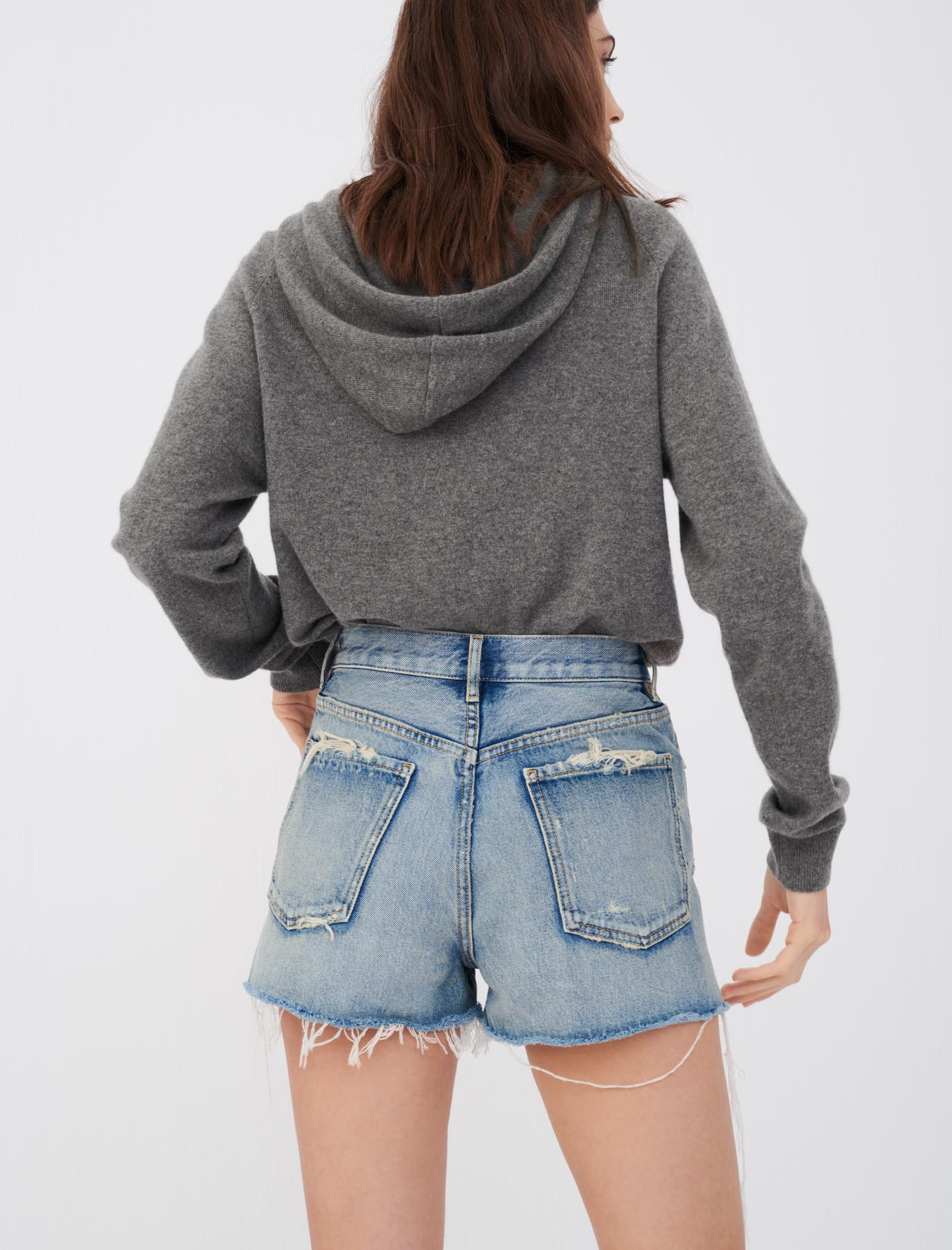 Faded, used-look denim shorts - Blue