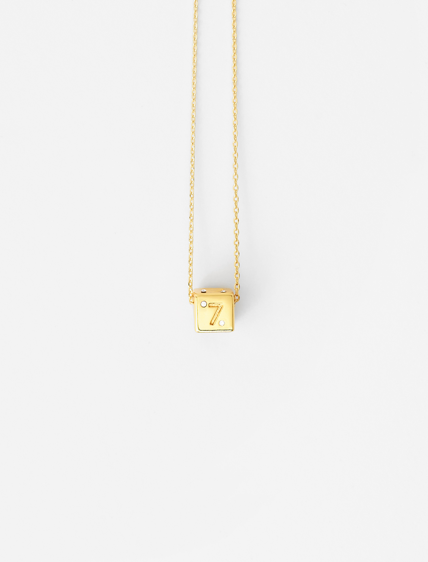 Number 7 dice necklace - Gold
