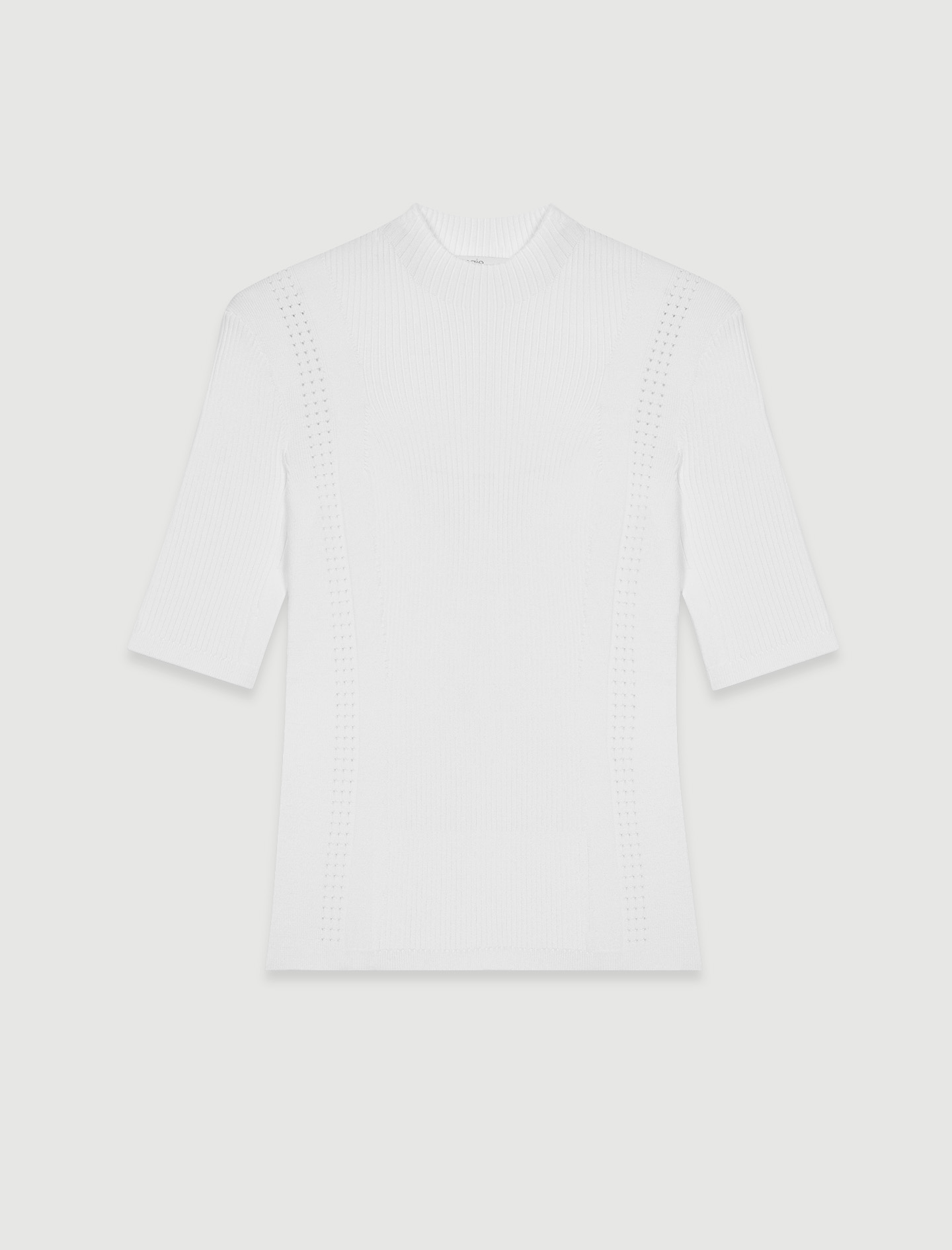 Short sleeve white ribbed top by maje paris