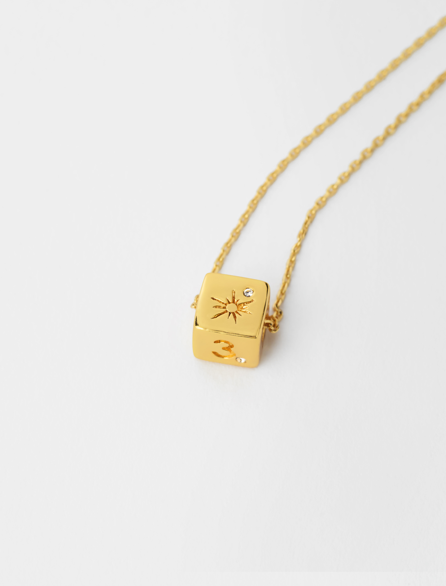 Number 3 dice necklace - Gold