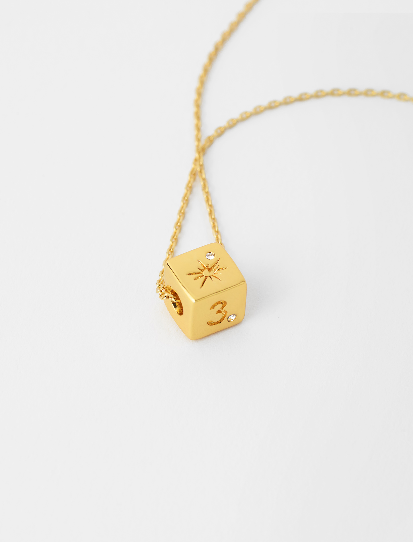number 3 dice necklace gold by maje paris