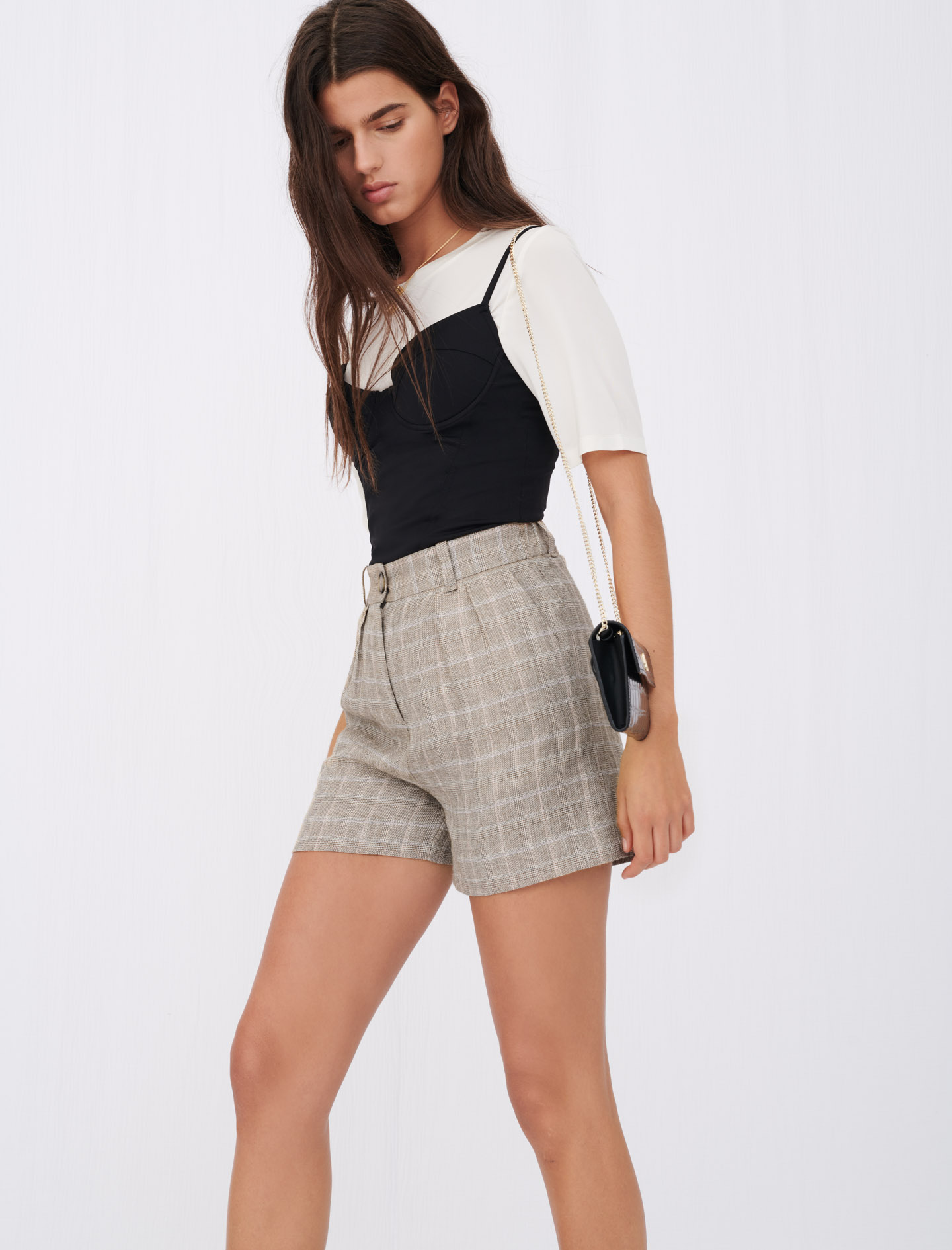Maje Checked linen shorts