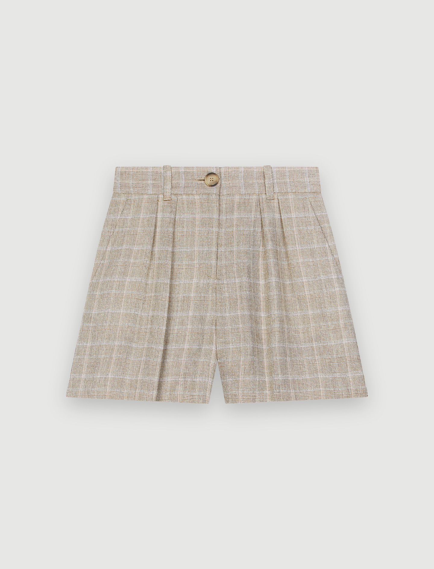 Checked linen shorts - Beige