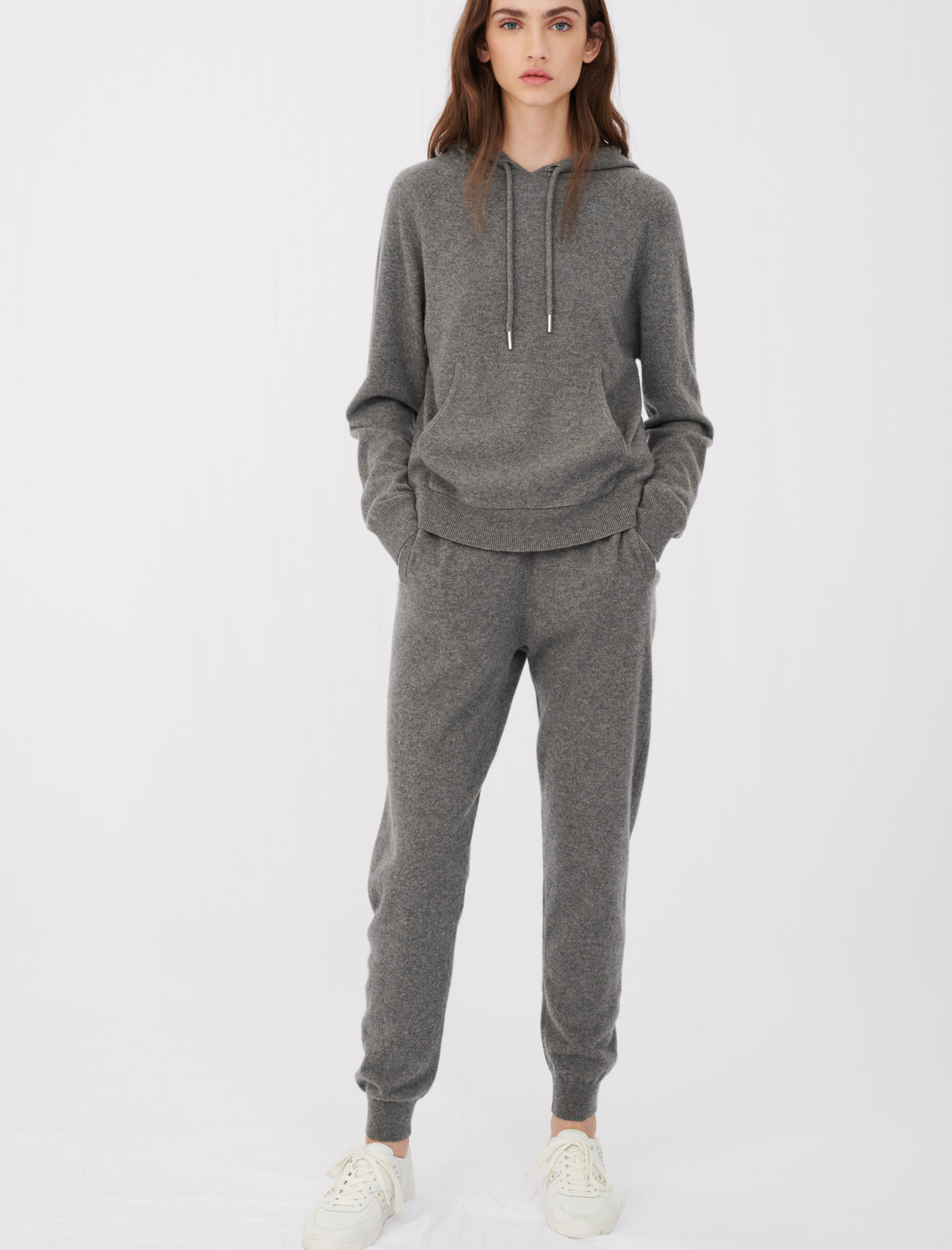 Cashmere jogger-style trousers grey in maje paris