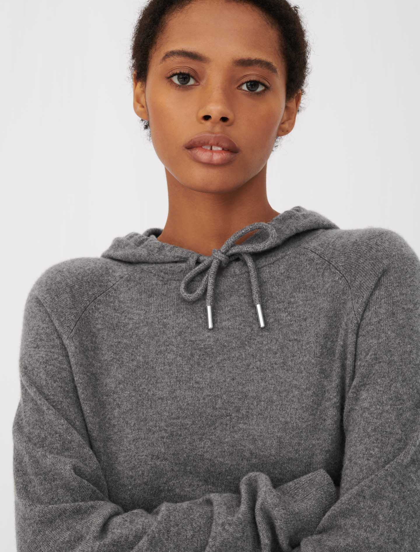 Cashmere hoodie-style sweater