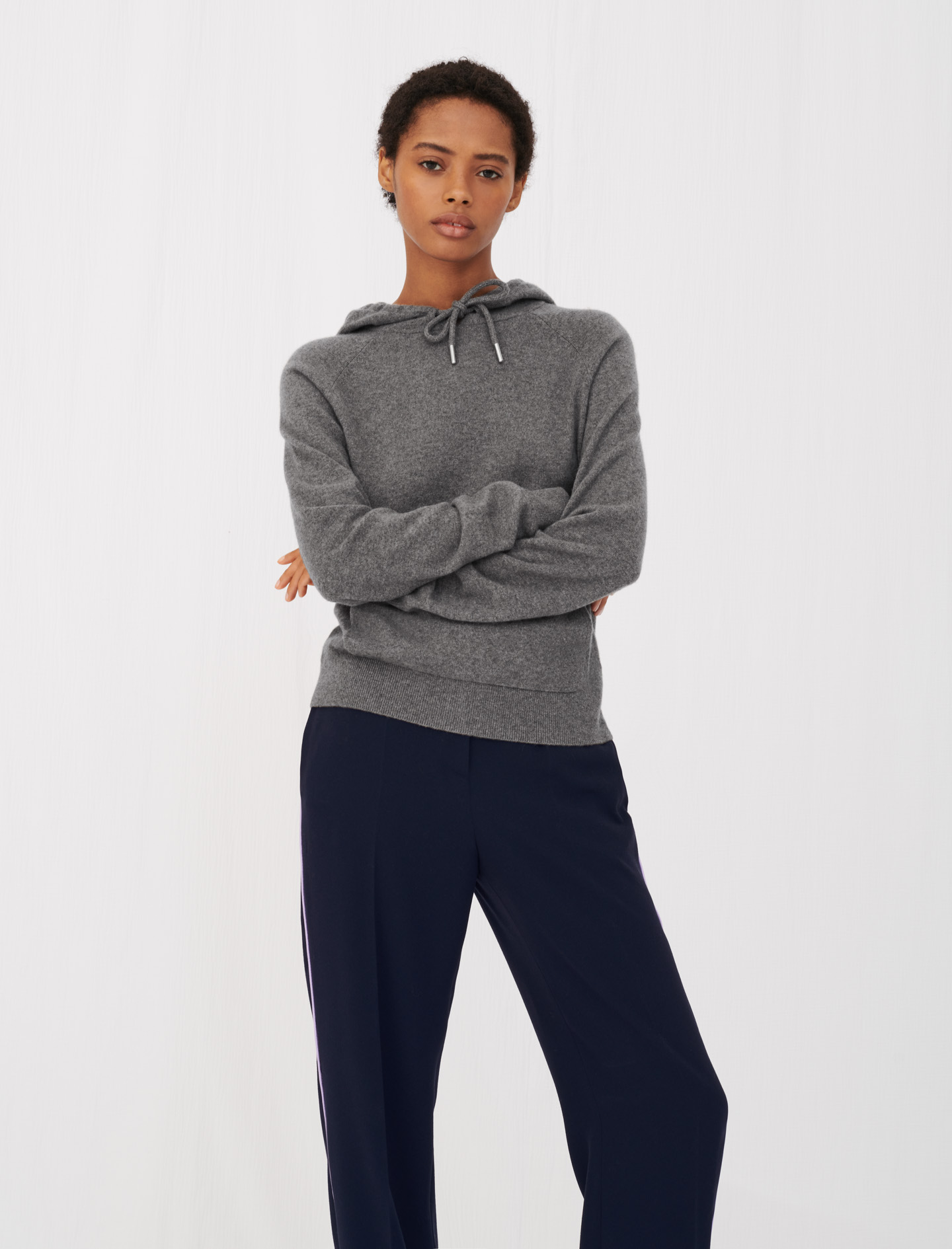 Cashmere hoodie-style sweater - Grey