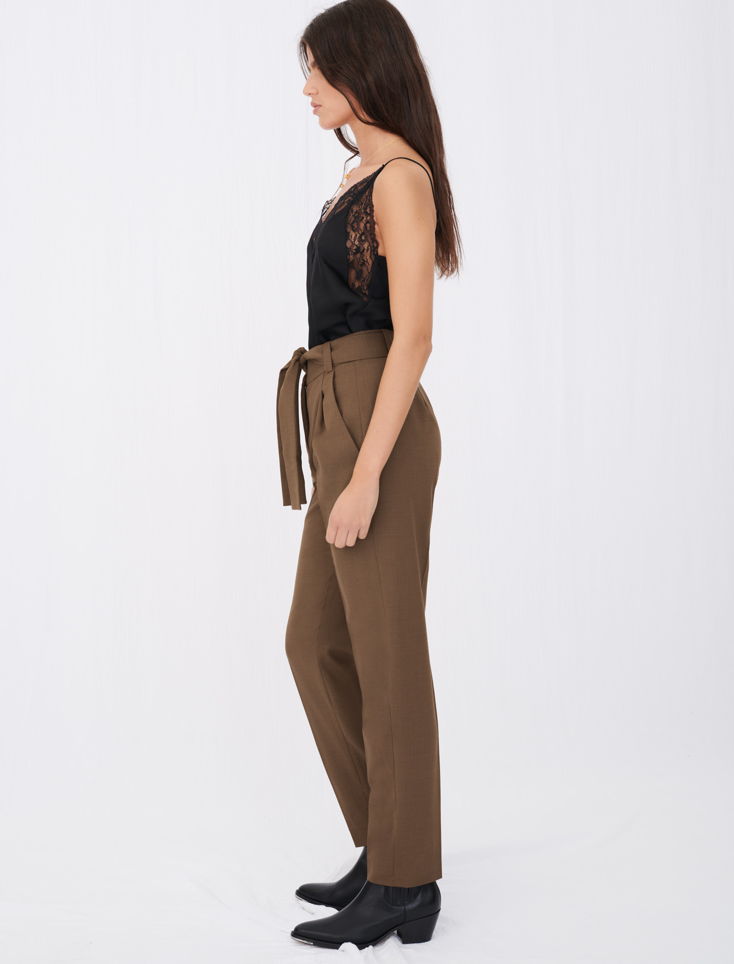 Straight-cut, belted suit trousers