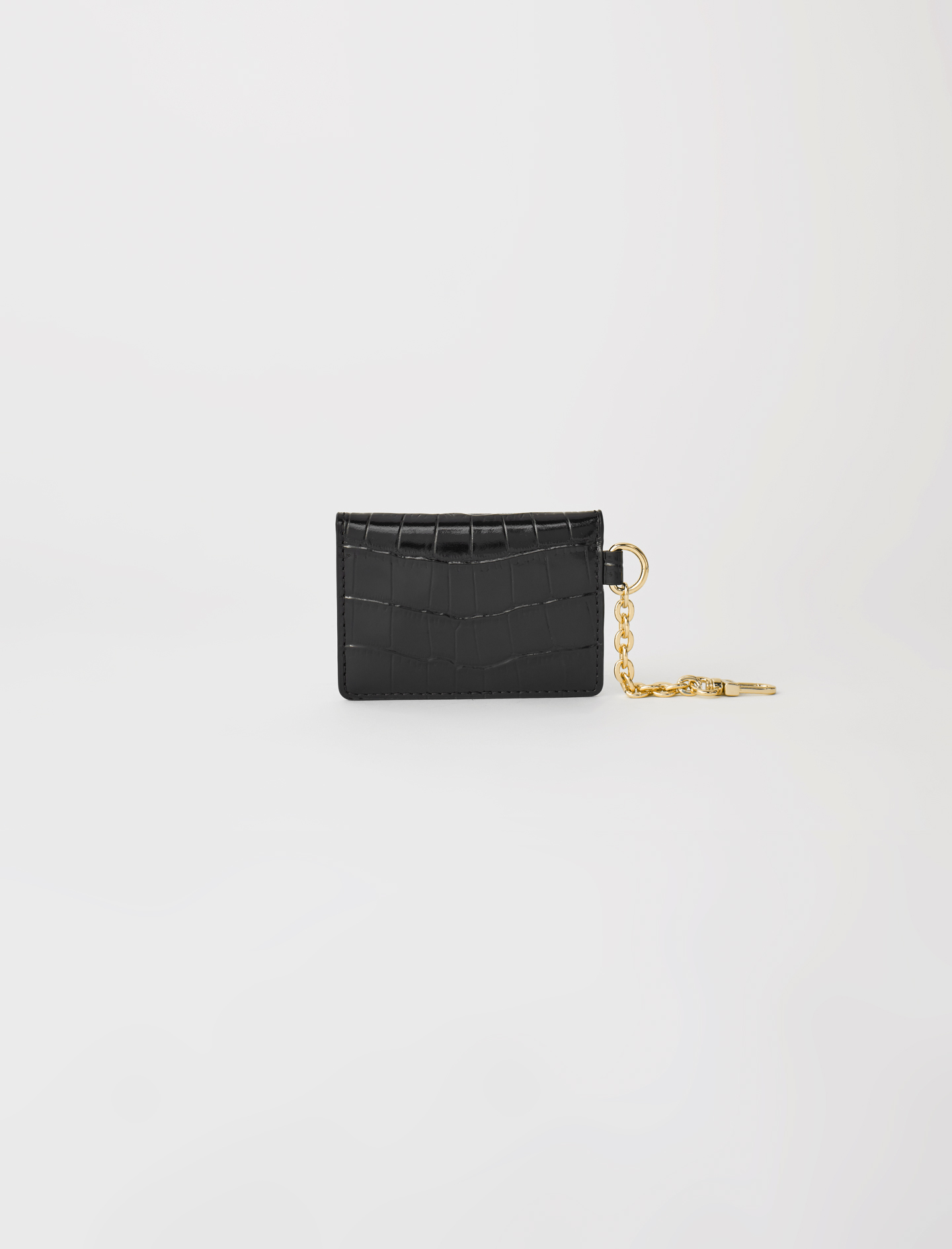 Croc-effect embossed leather card holder black by maje paris