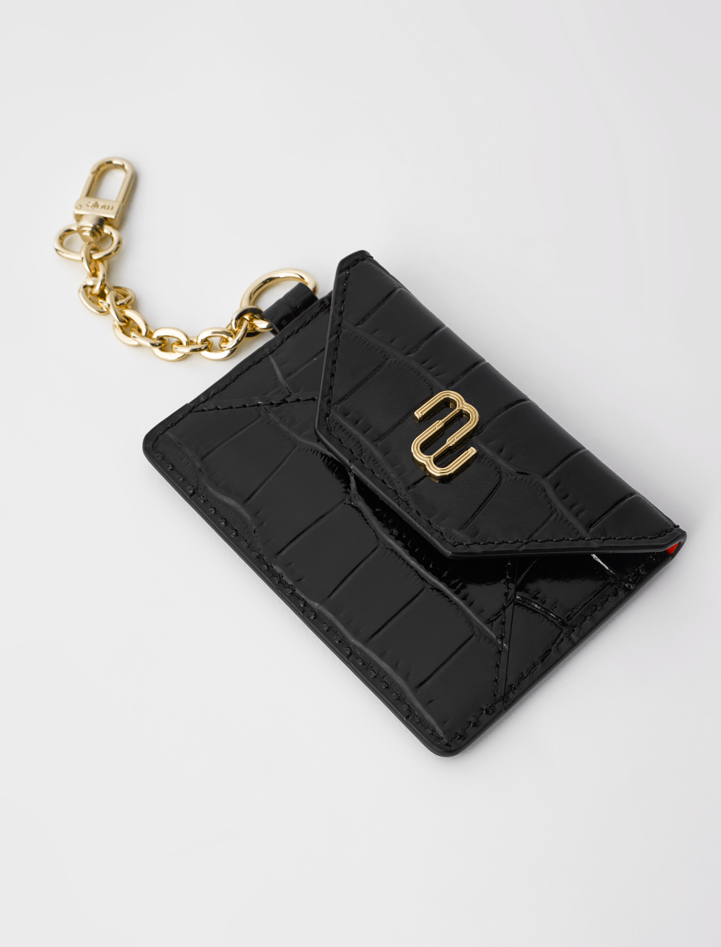Croc-effect embossed leather card holder - Black