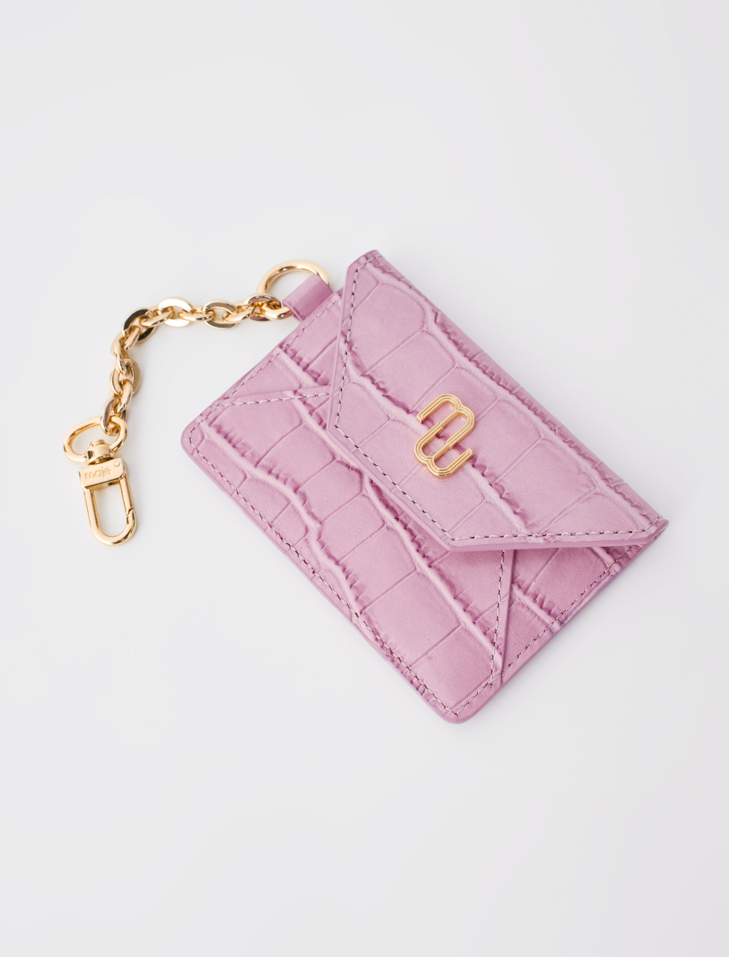 Croc-effect embossed leather card holder - Pink