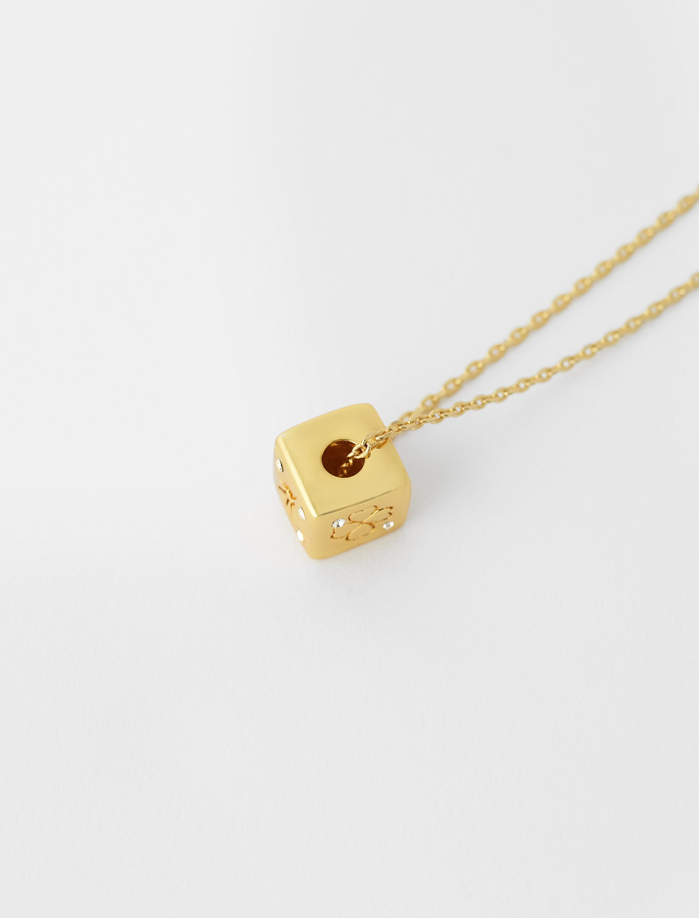 Number 8 dice necklace - Gold