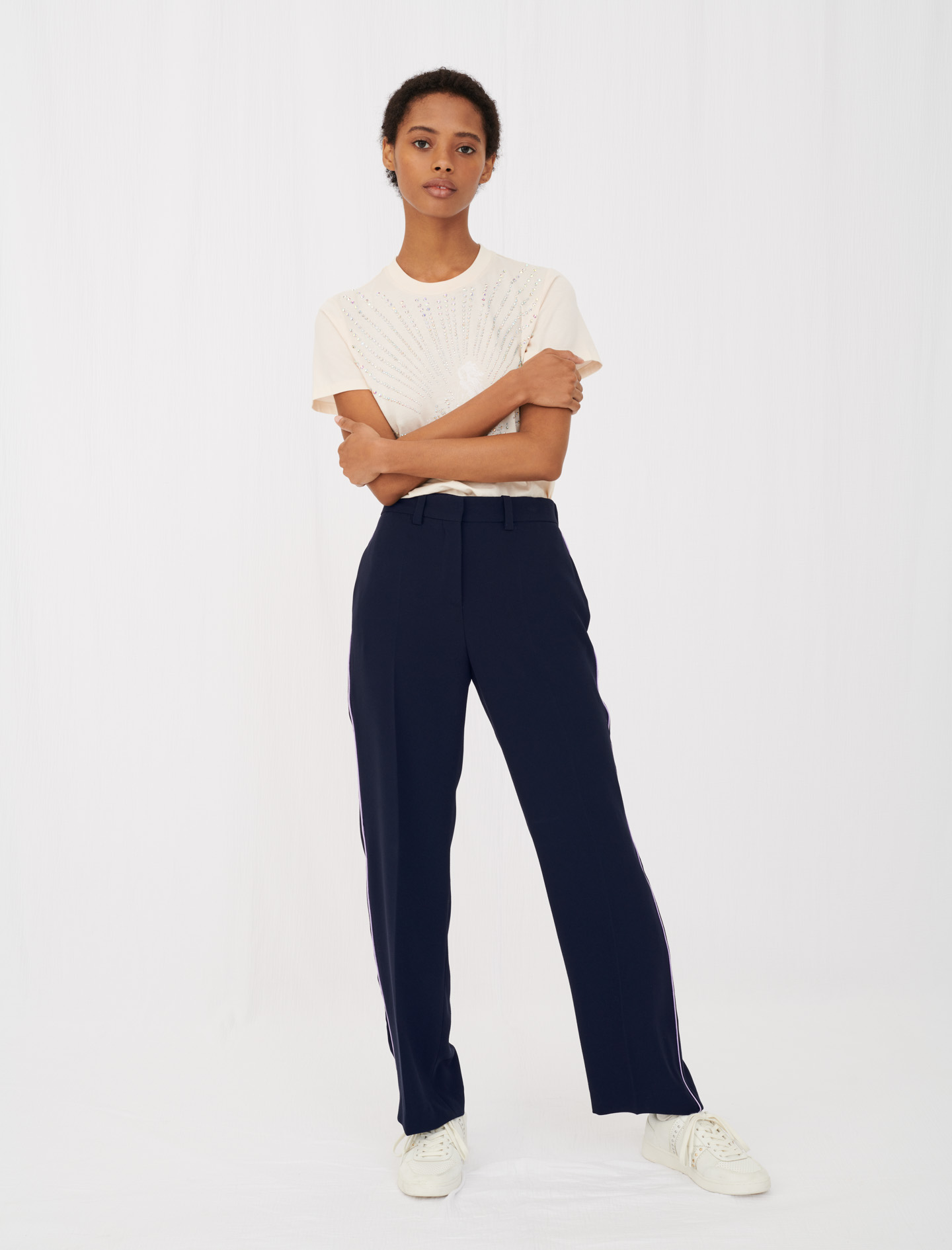 Navy wide leg pants Maje Pebs pants