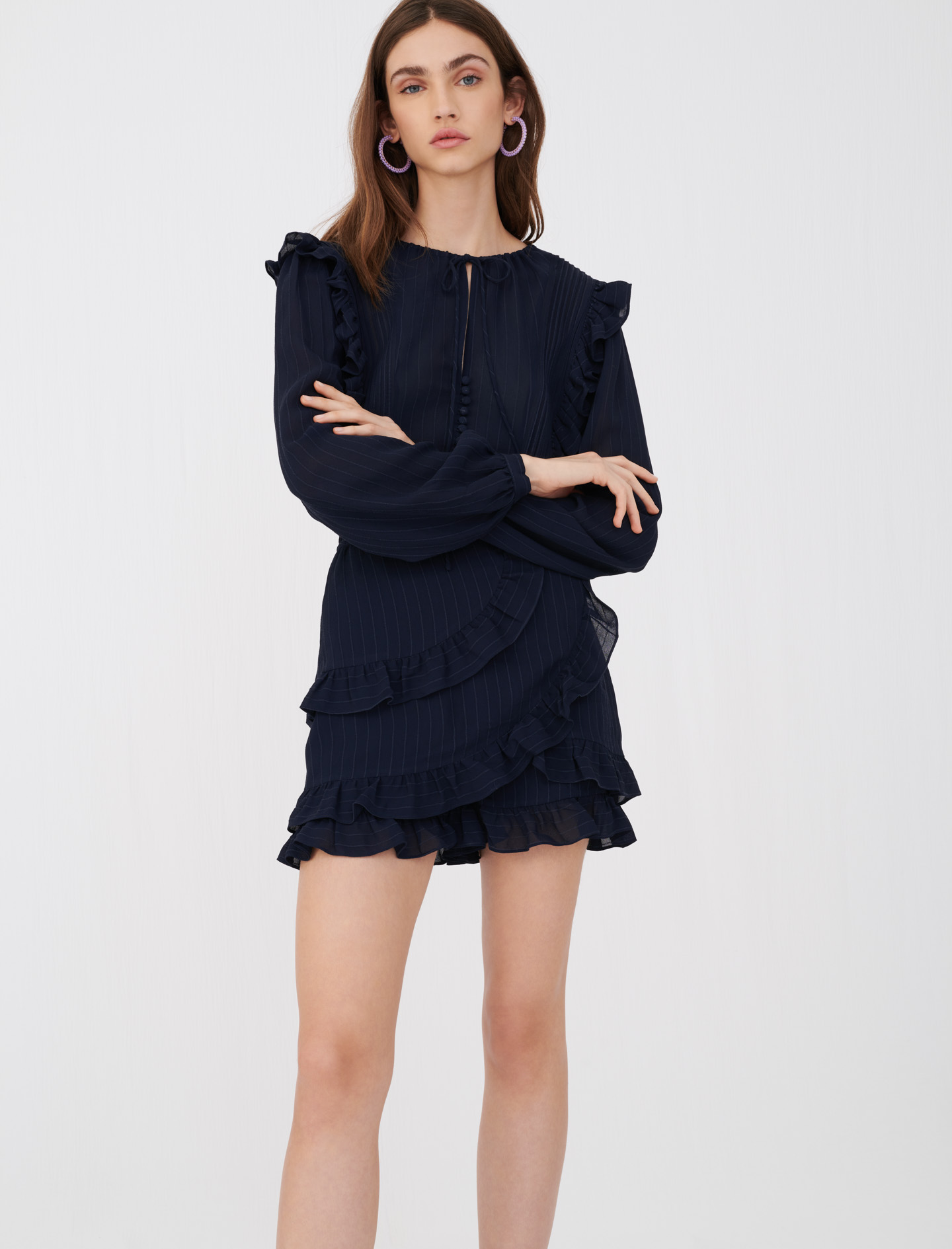 Playsuit with ruffles - Navy