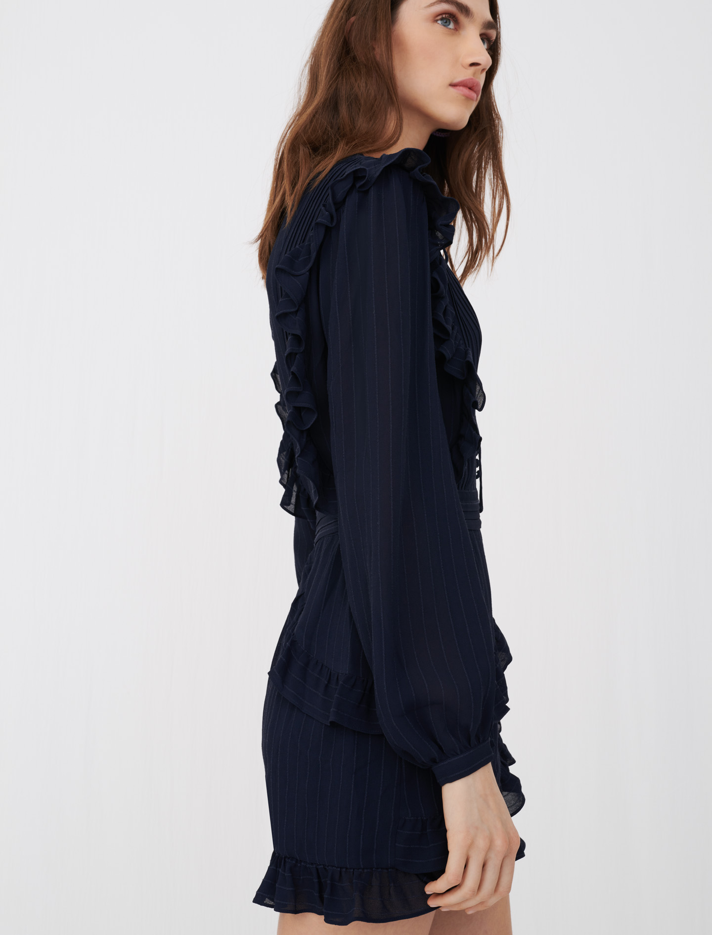 Maje Istra Playsuit with long sleeves and ruffles in navy