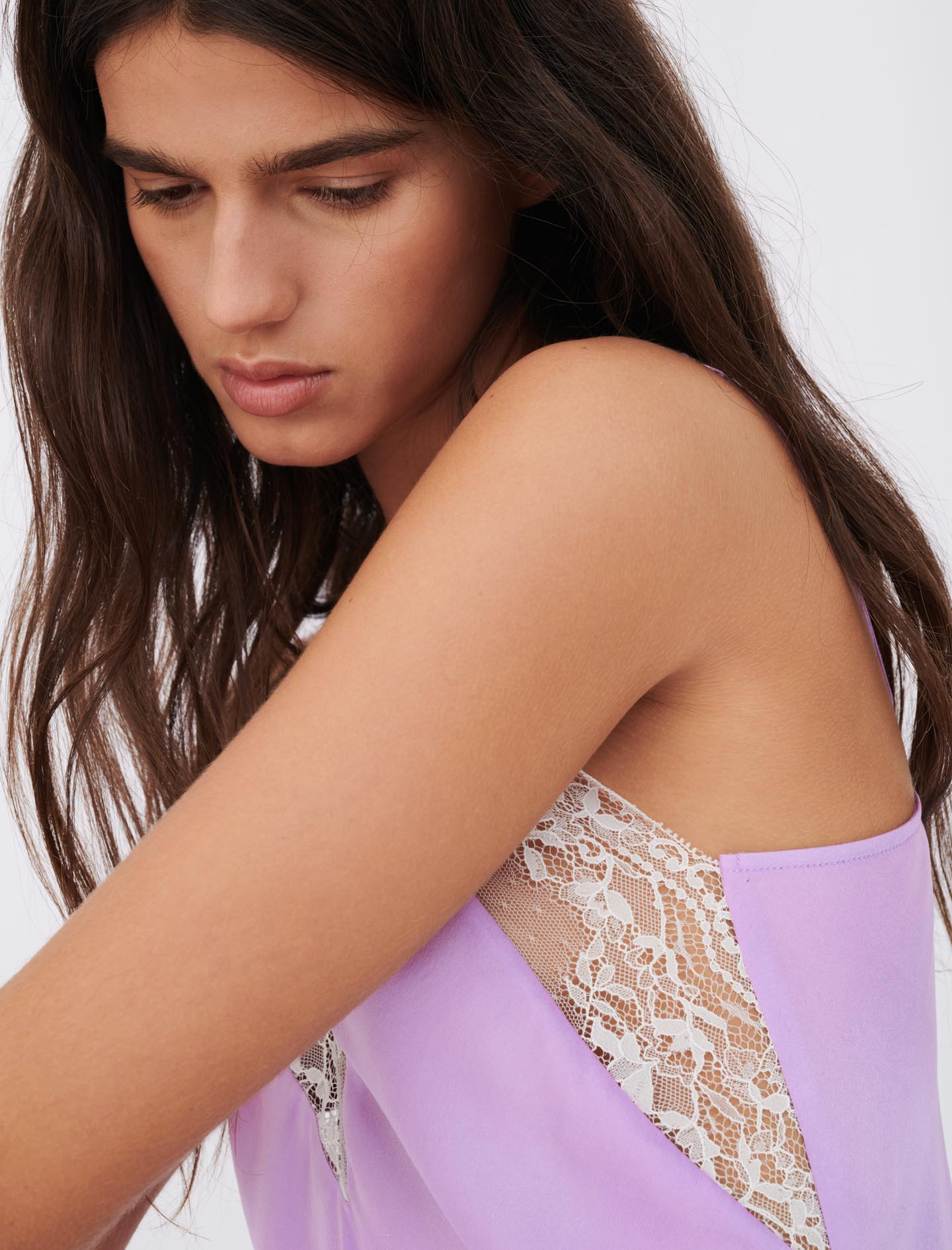 Silk satin and lace top - Purple