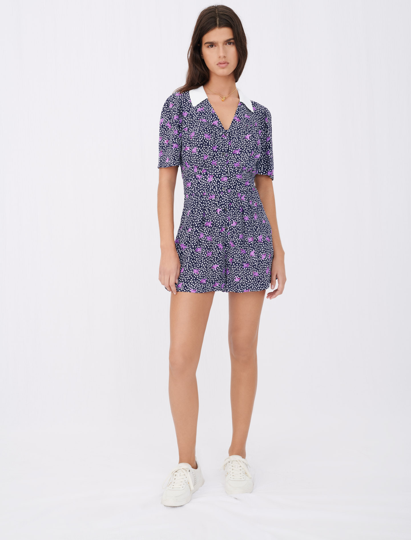 Printed crêpe playsuit - Multiclr