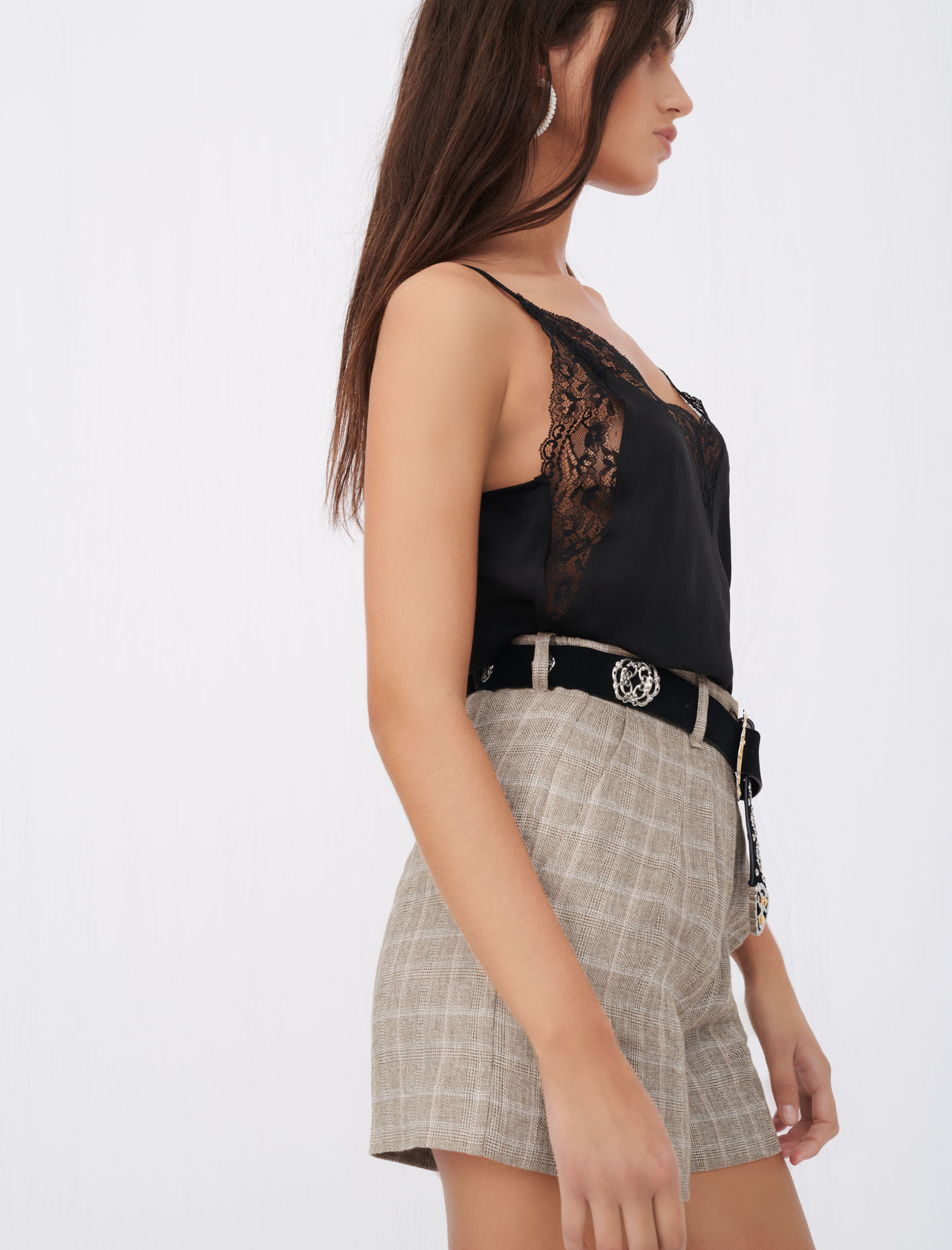 Silk satin and lace top - Black