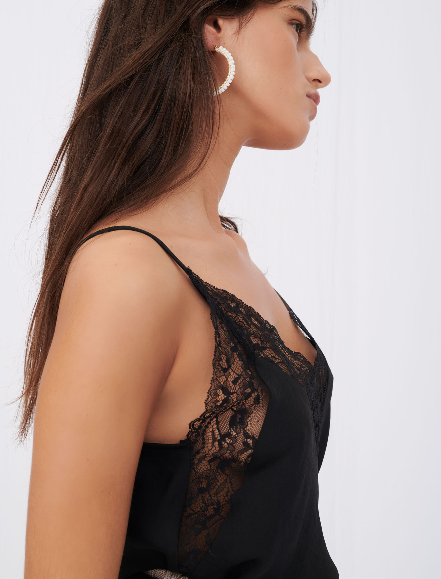 maje leatoni top black with lace