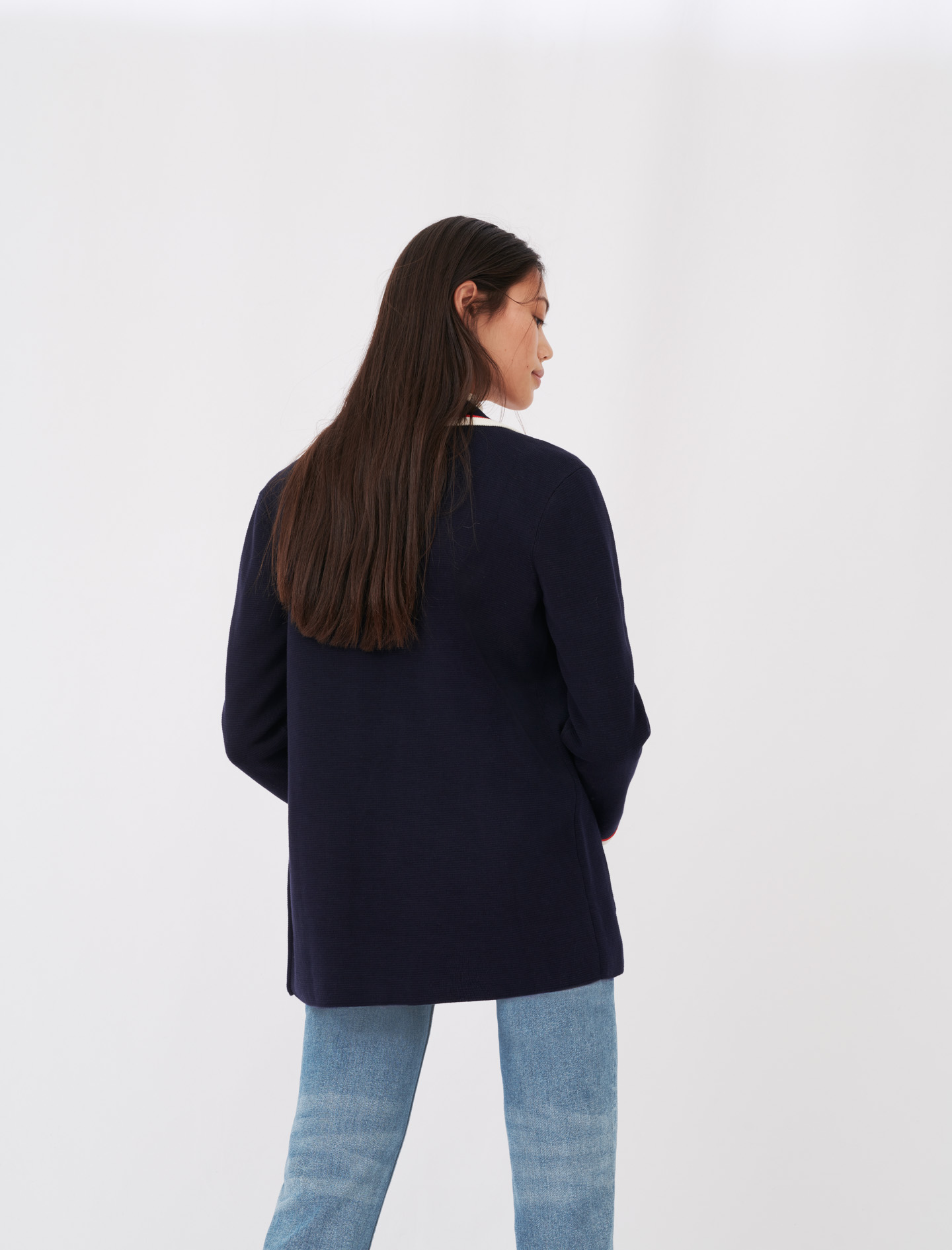 Contrasting collar and pocket cardigan - Navy