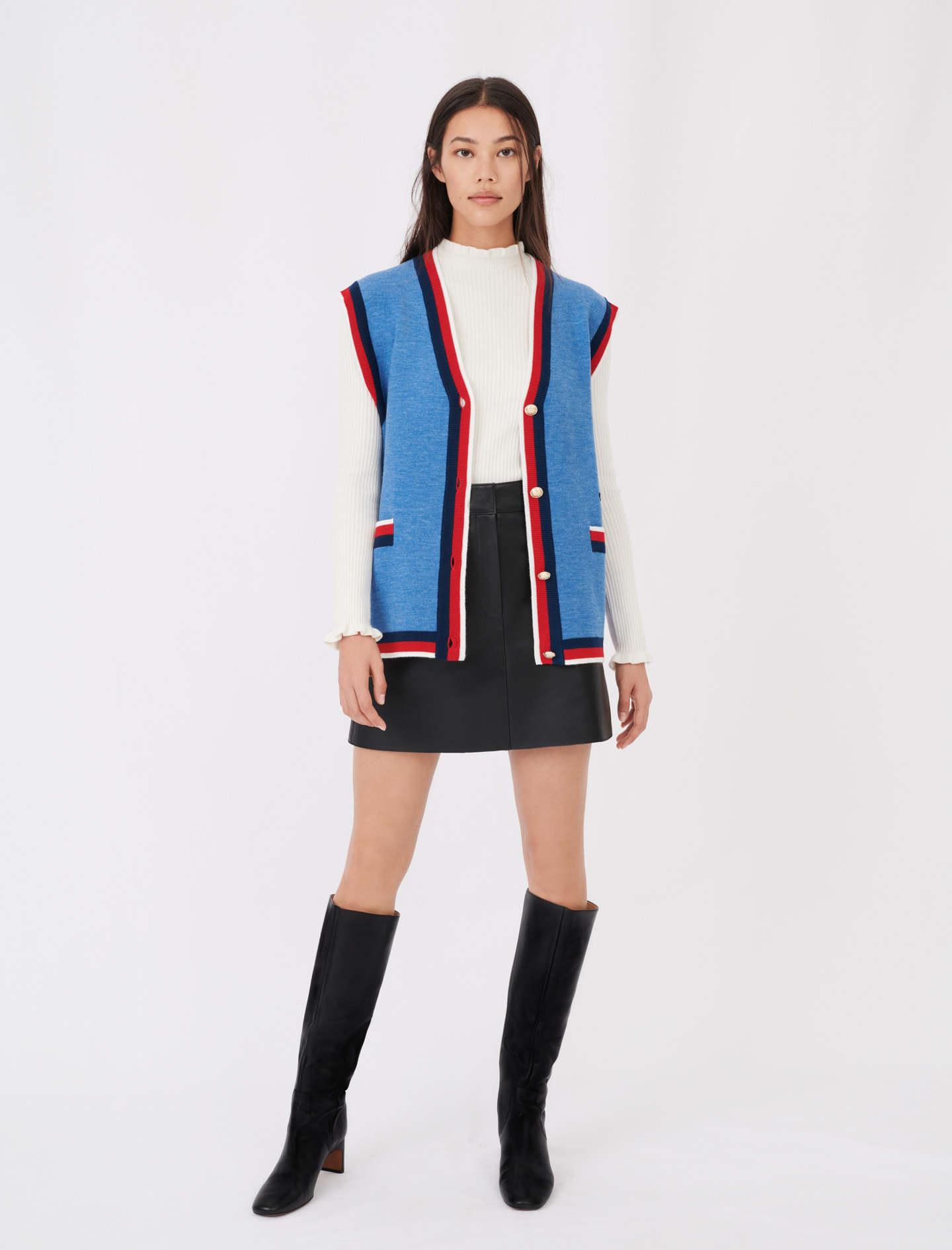 Vest cardigan in royal blue with red and black trims by Maje Paris