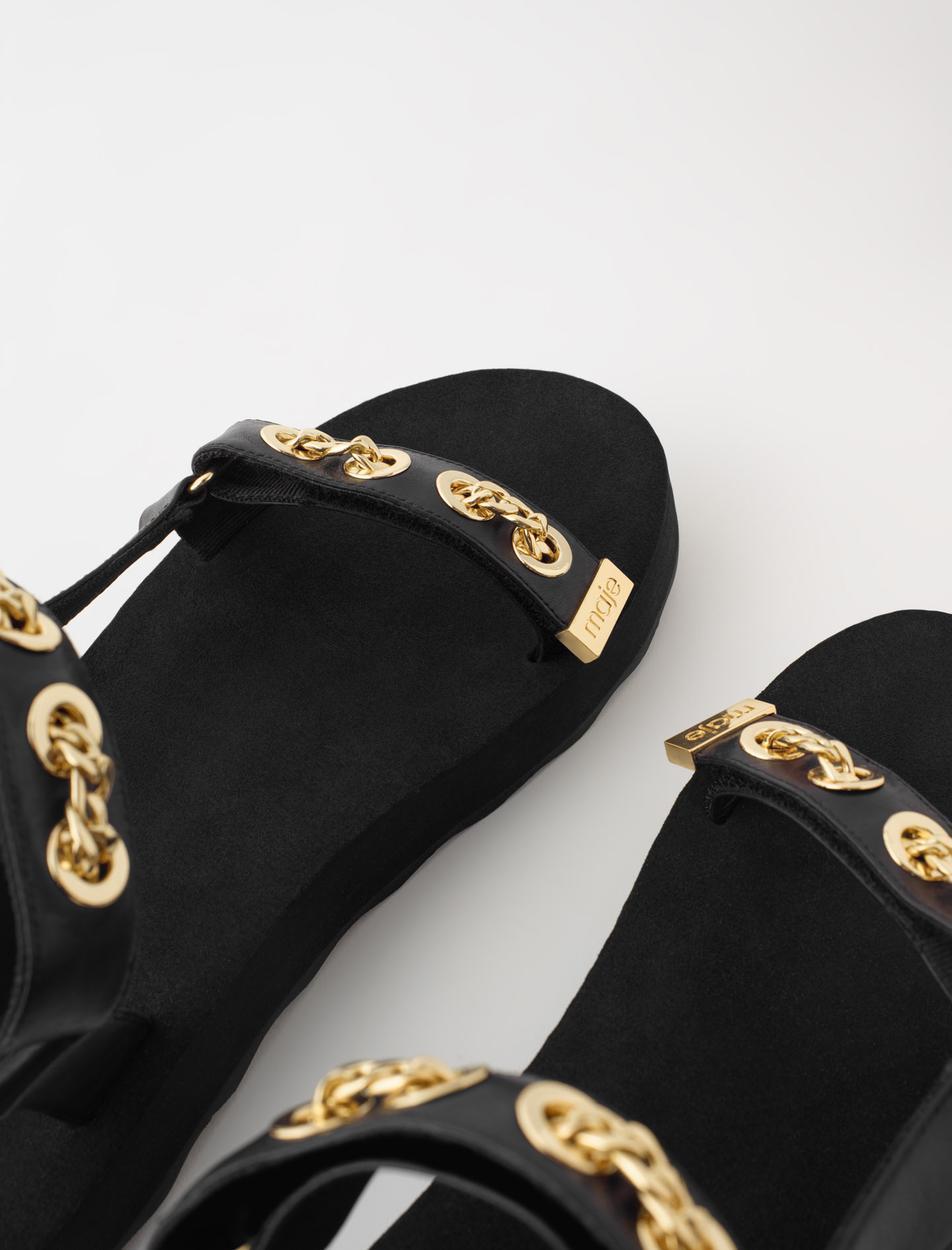 Maje Sandals with Gold Chain