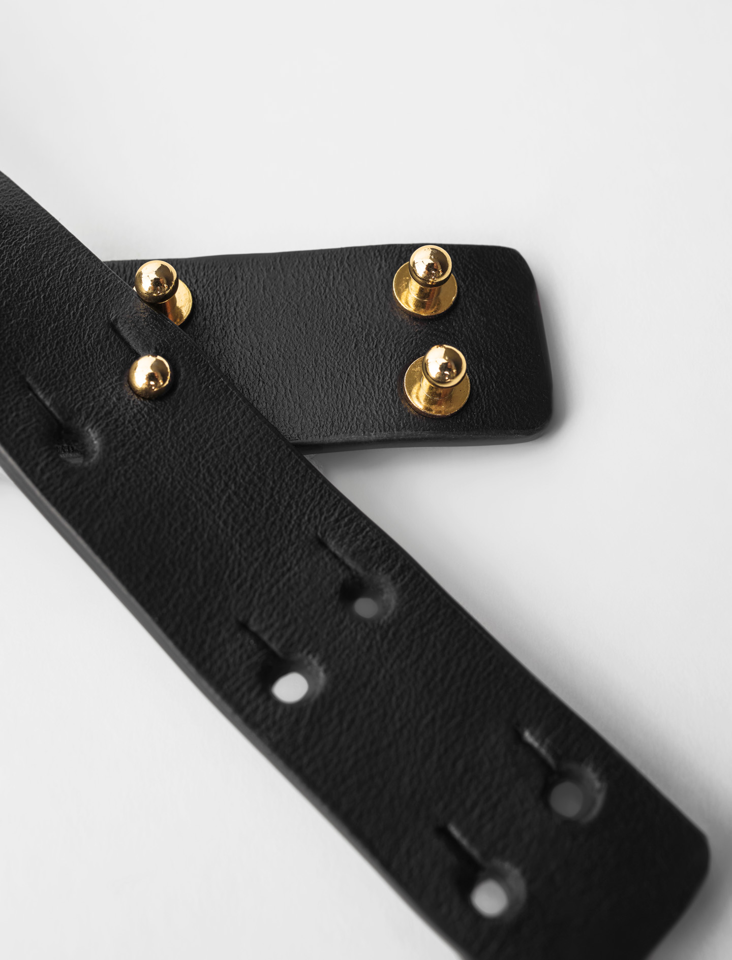 Leather belt with curb chain - Black