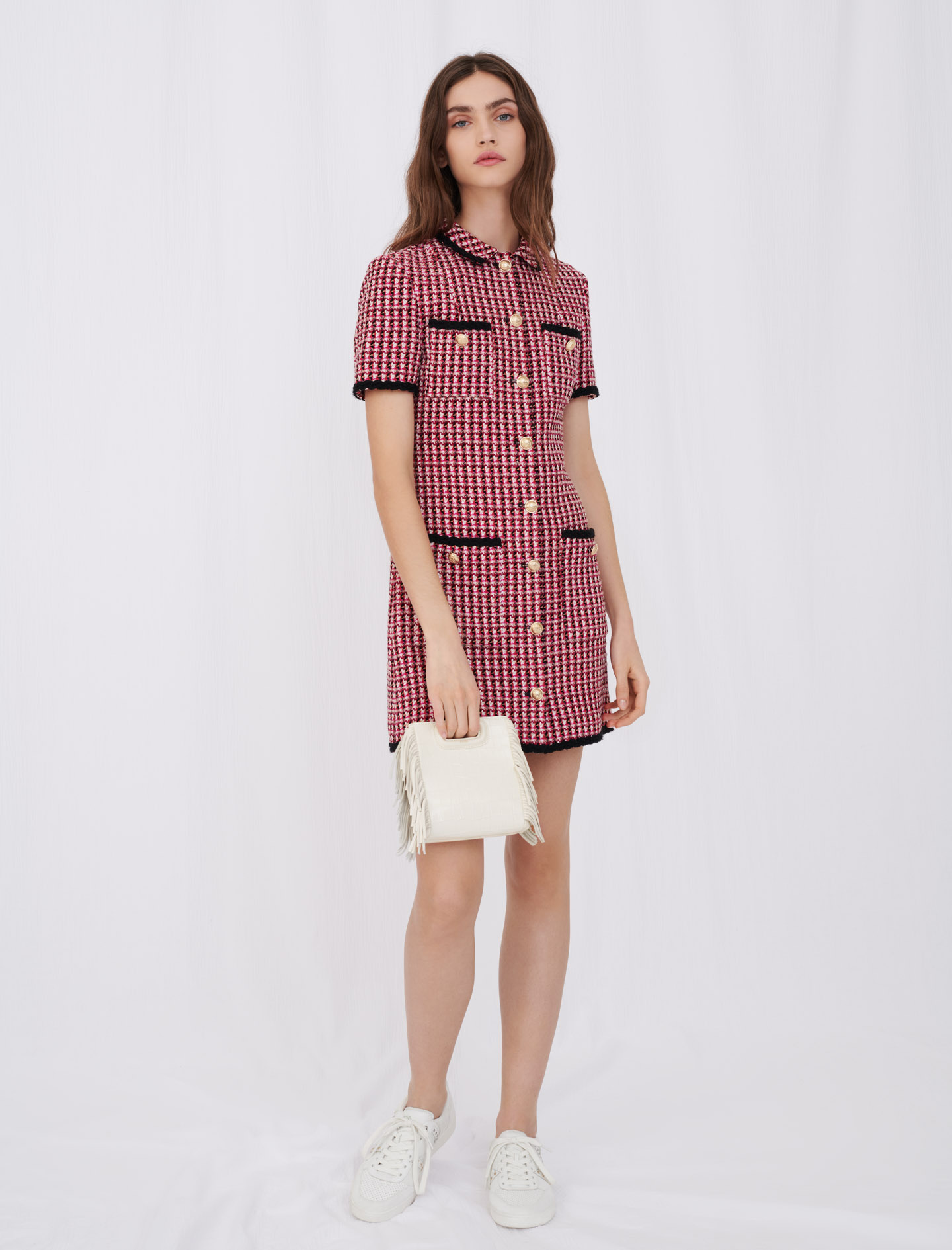 Contrast tweed dress - Pink