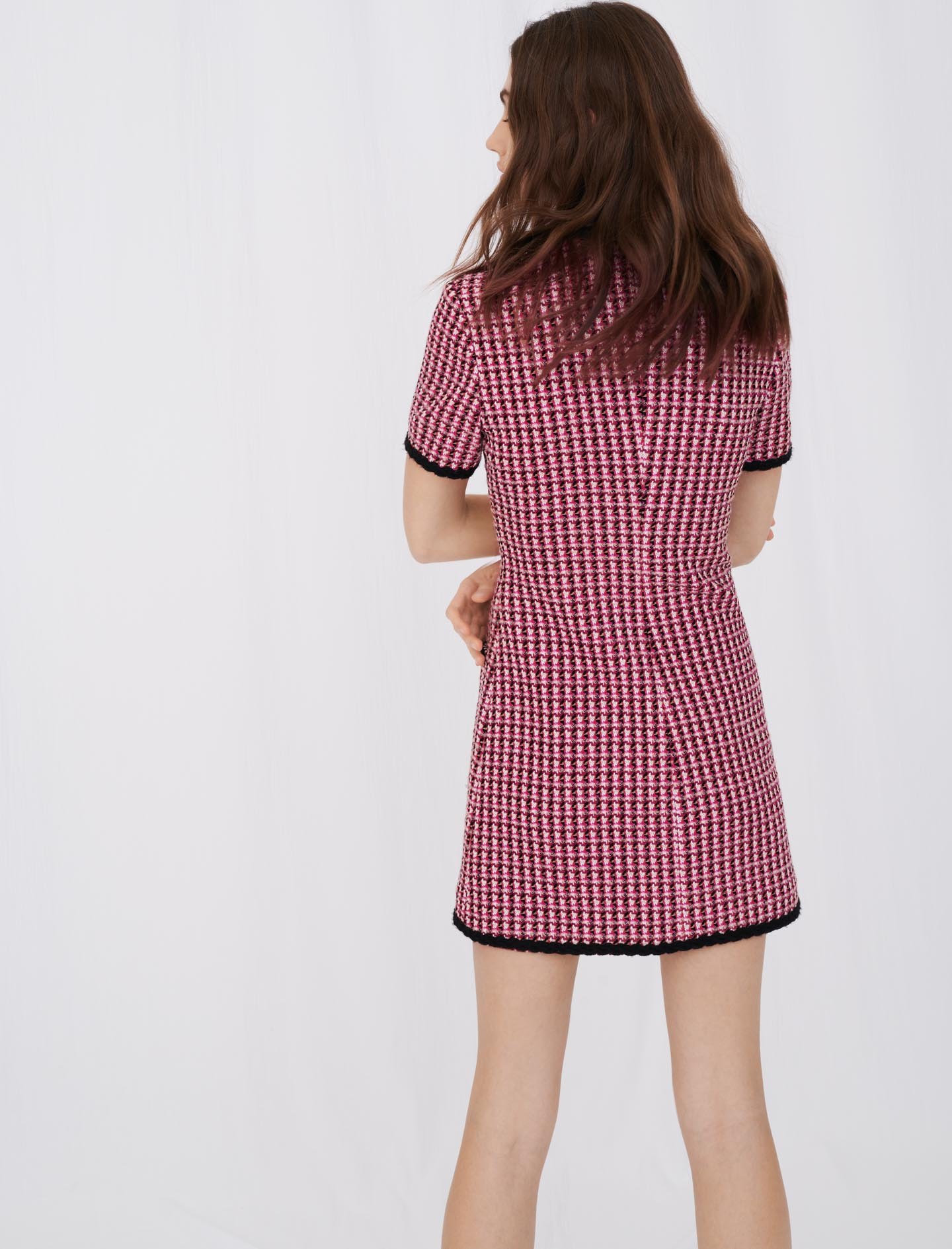 contrast tweed dress pink by maje paris