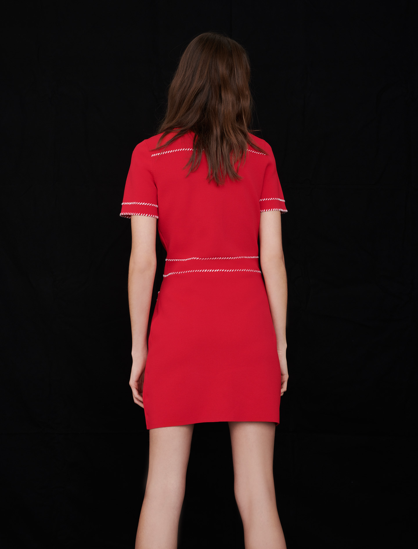 Contrast knit dress - Red