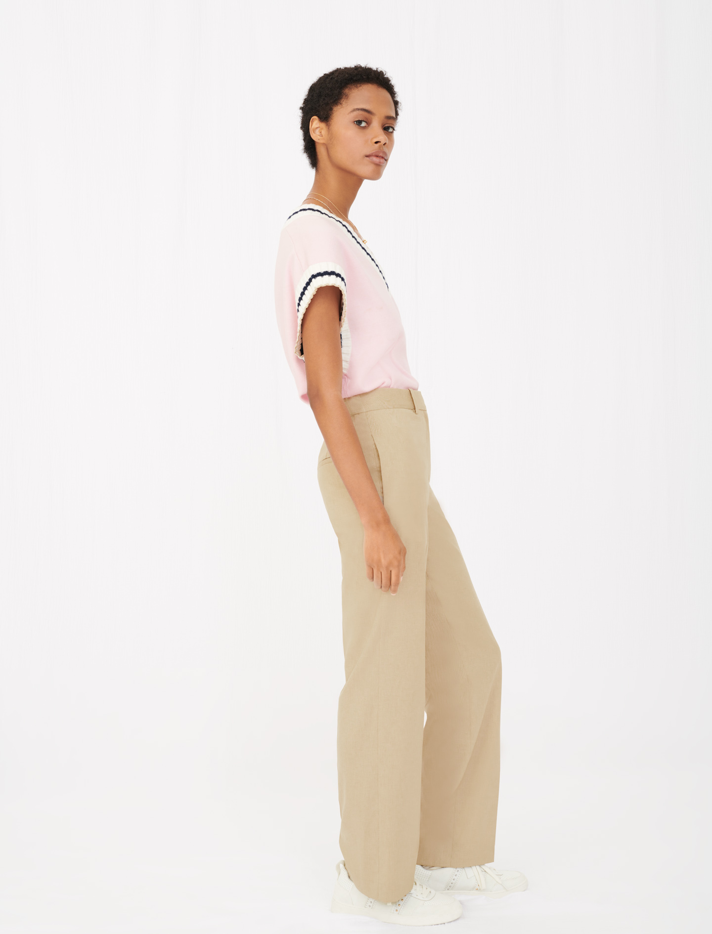 Wide leg suit trousers - Beige