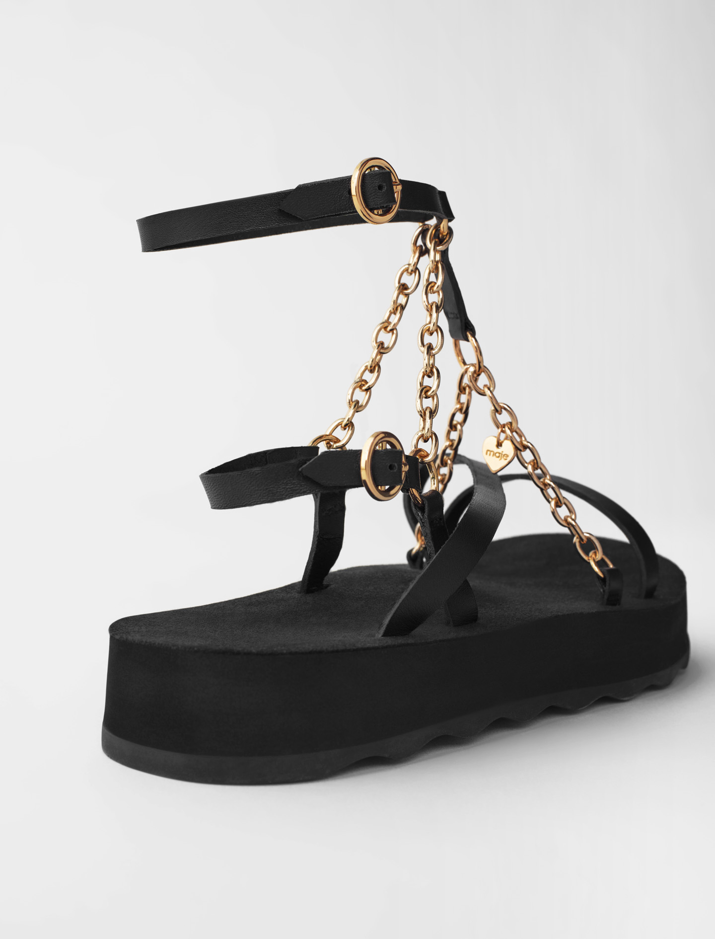 Sandals with leather straps and chain - Black