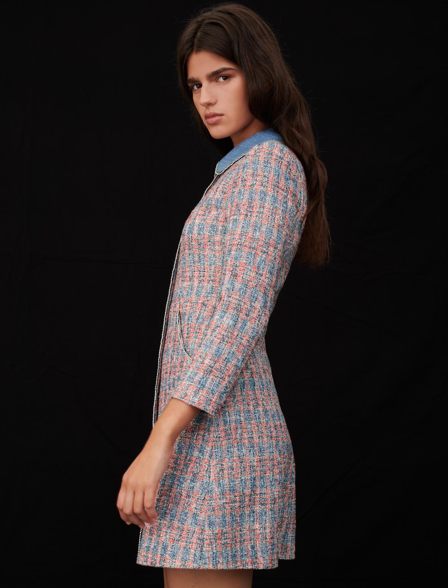 Maje weed dress with denim contrasts