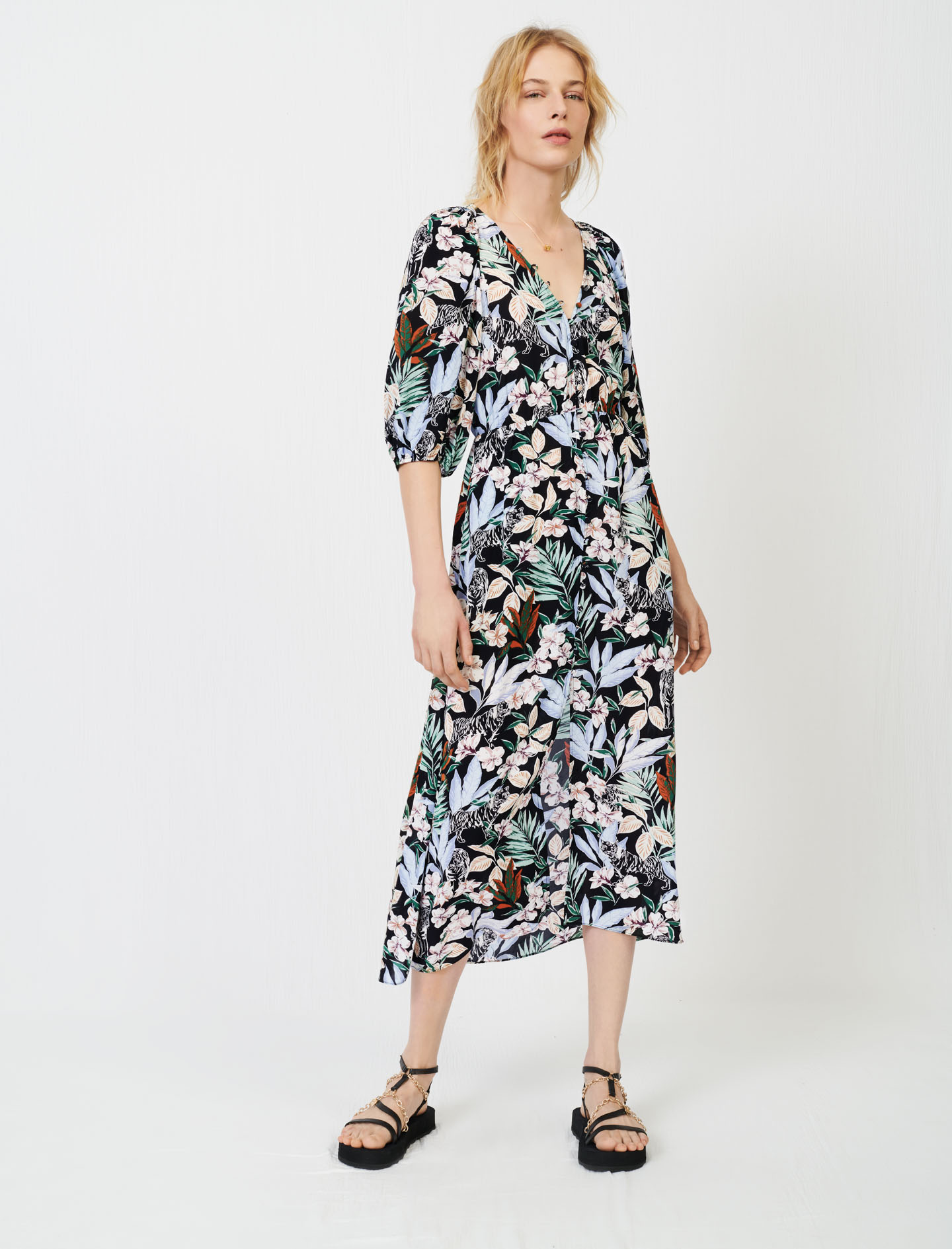 Maje Printed viscose dress with smocking