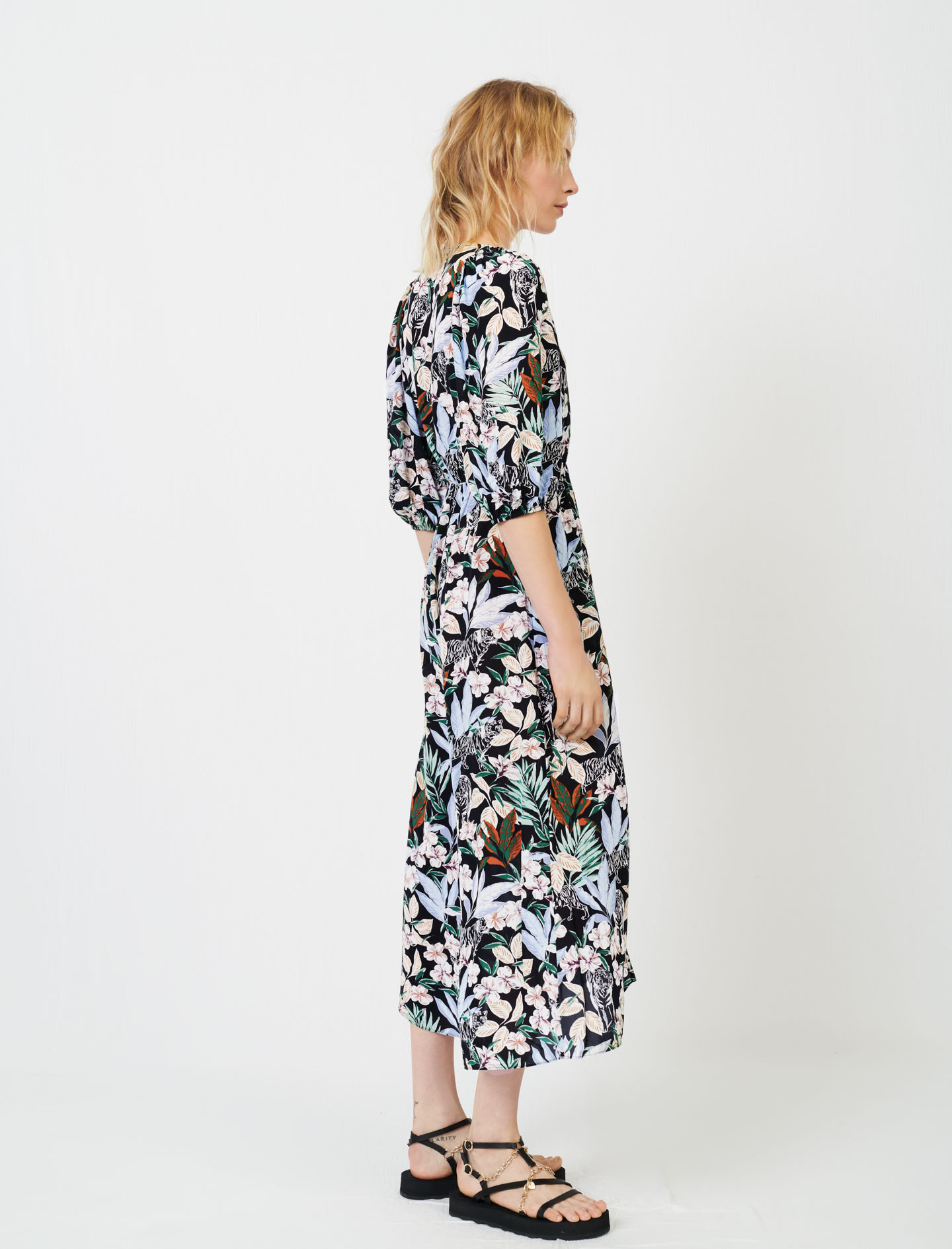 Printed viscose dress with smocking - Multiclr
