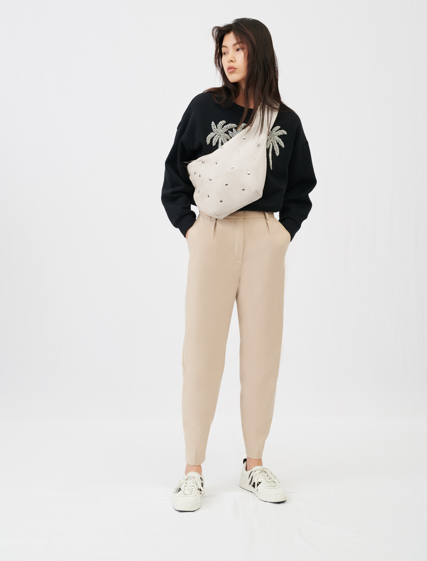 High-waisted suit trousers - Beige