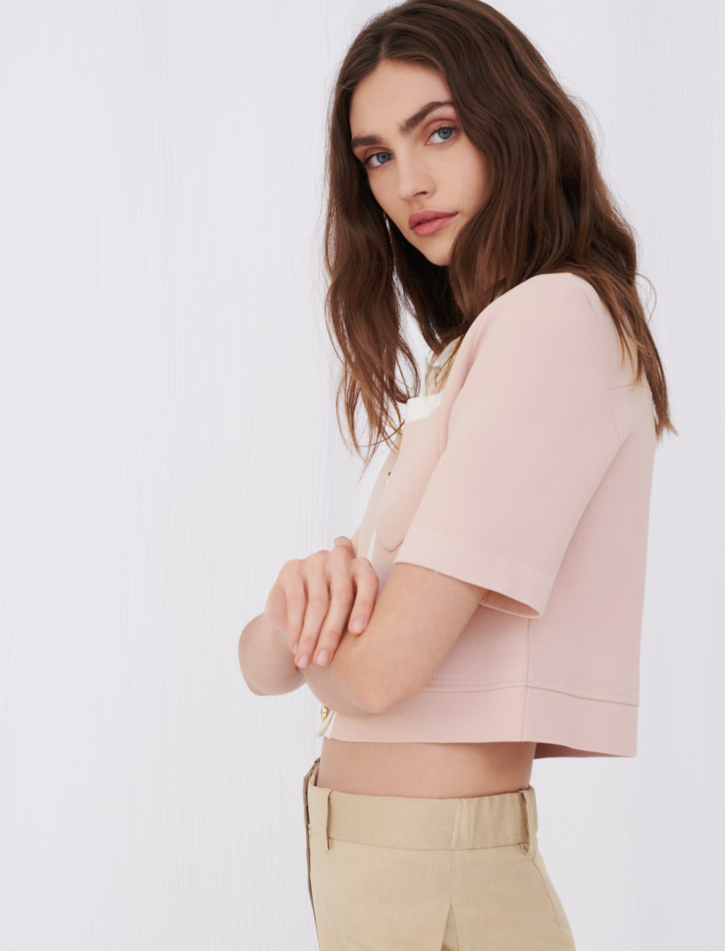 Maje Cropped cardigan with contrasting bands