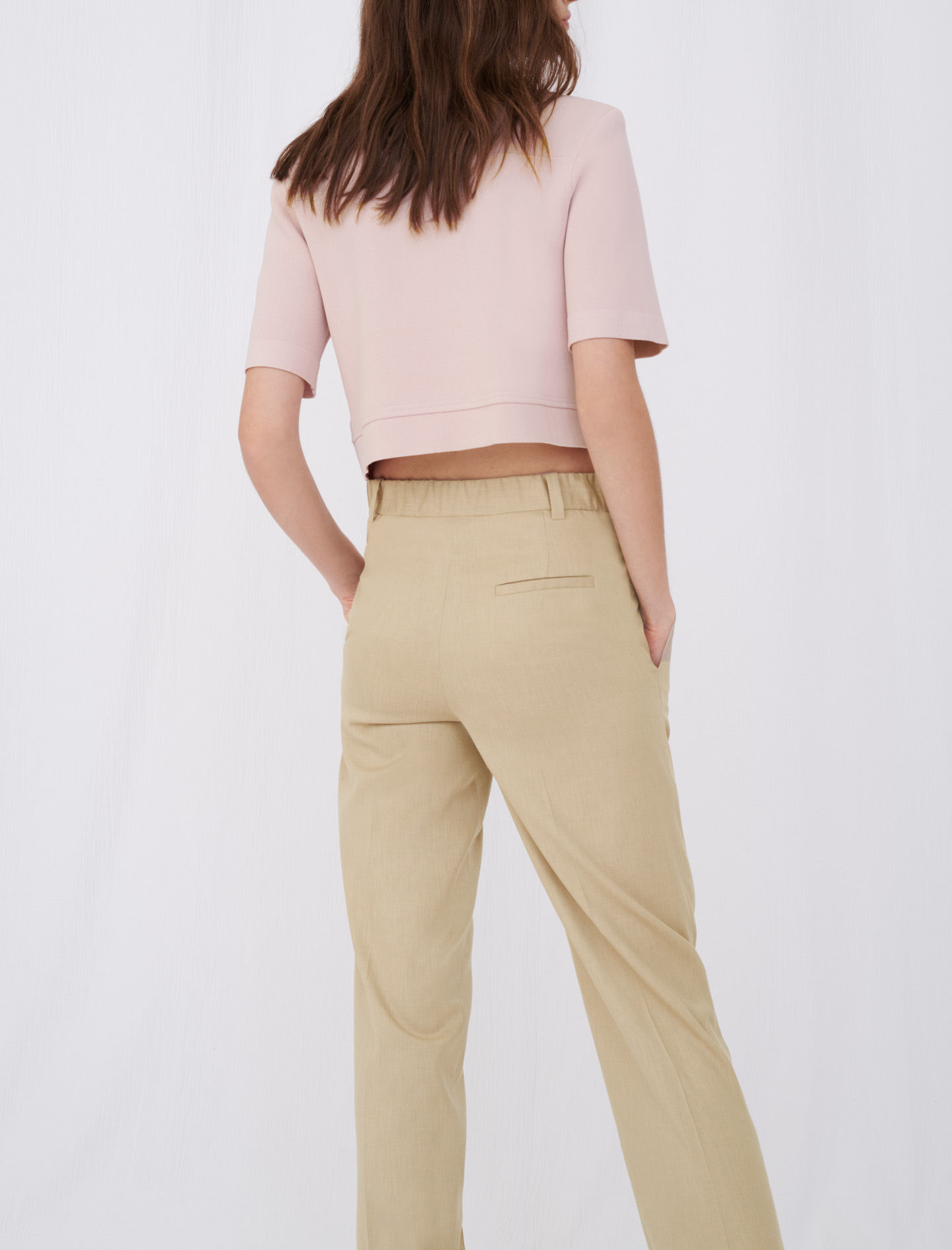 Cropped cardigan with contrasting bands - Pink