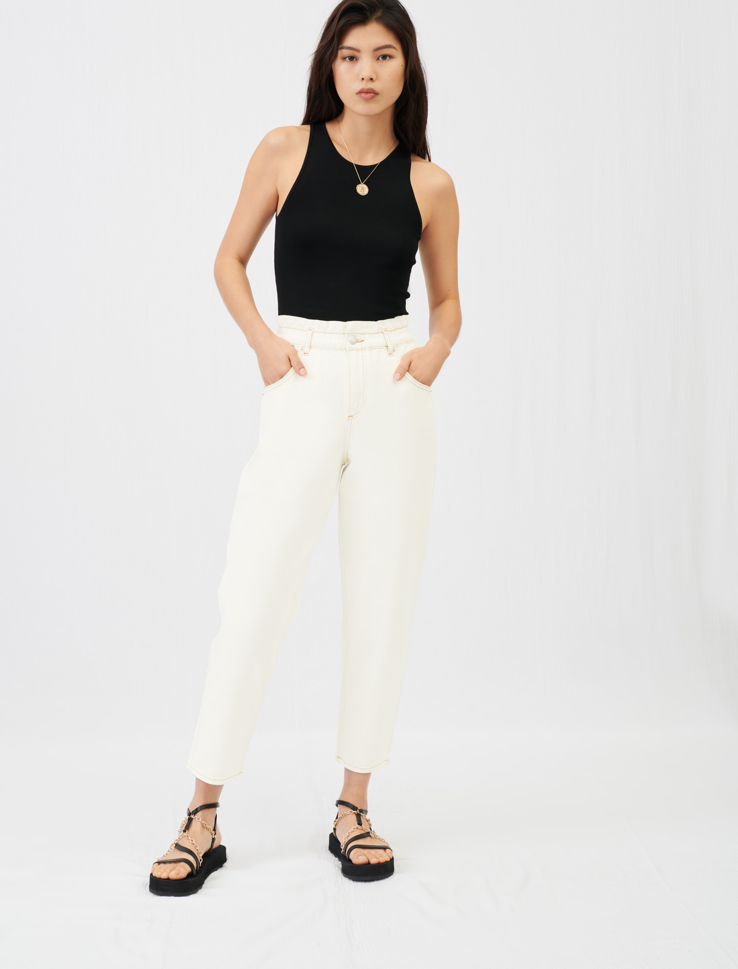 Wide jeans with elasticated waistband - Ecru
