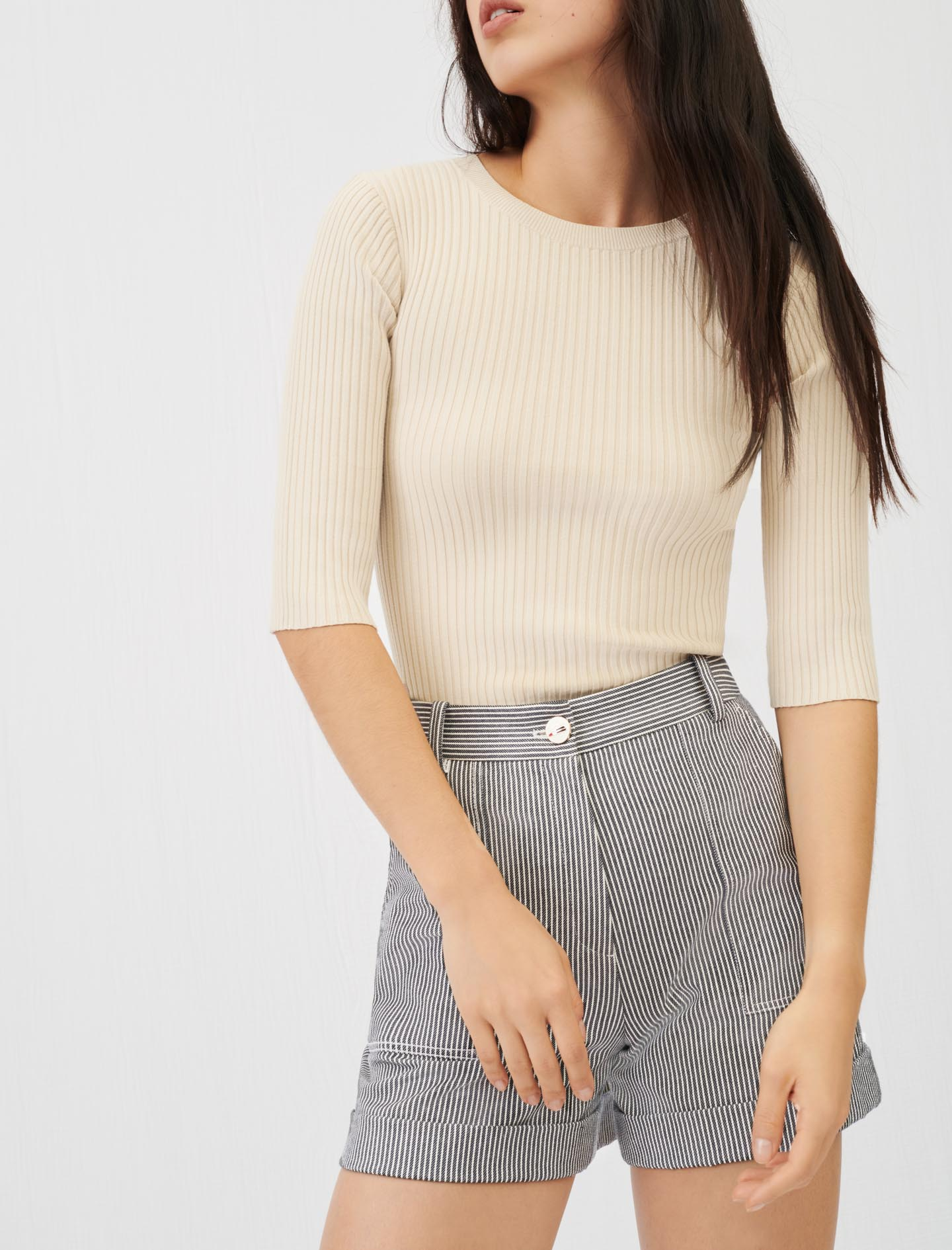 Fine ribbed sweater with an open back - Beige