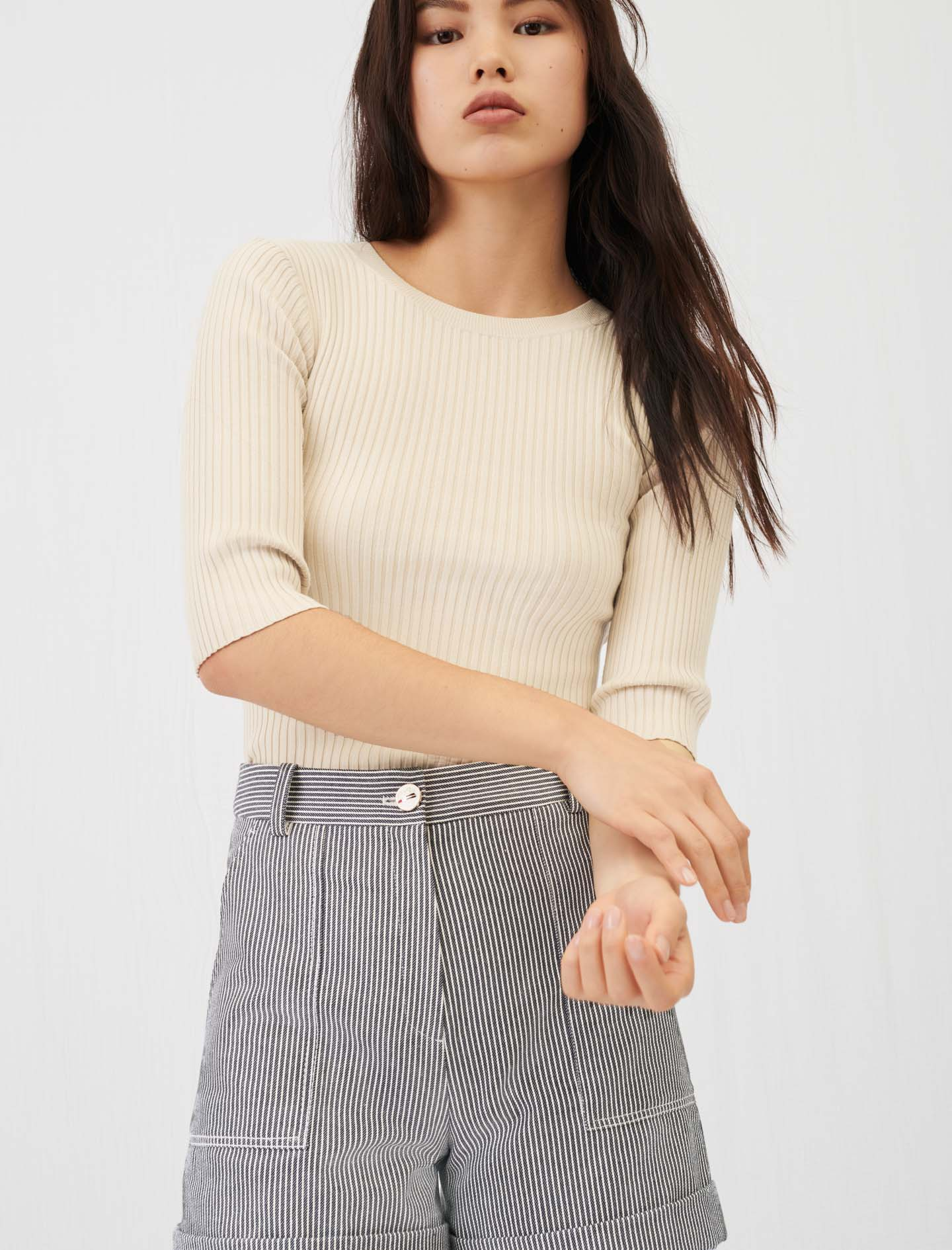 Maje Fine ribbed sweater with an open back