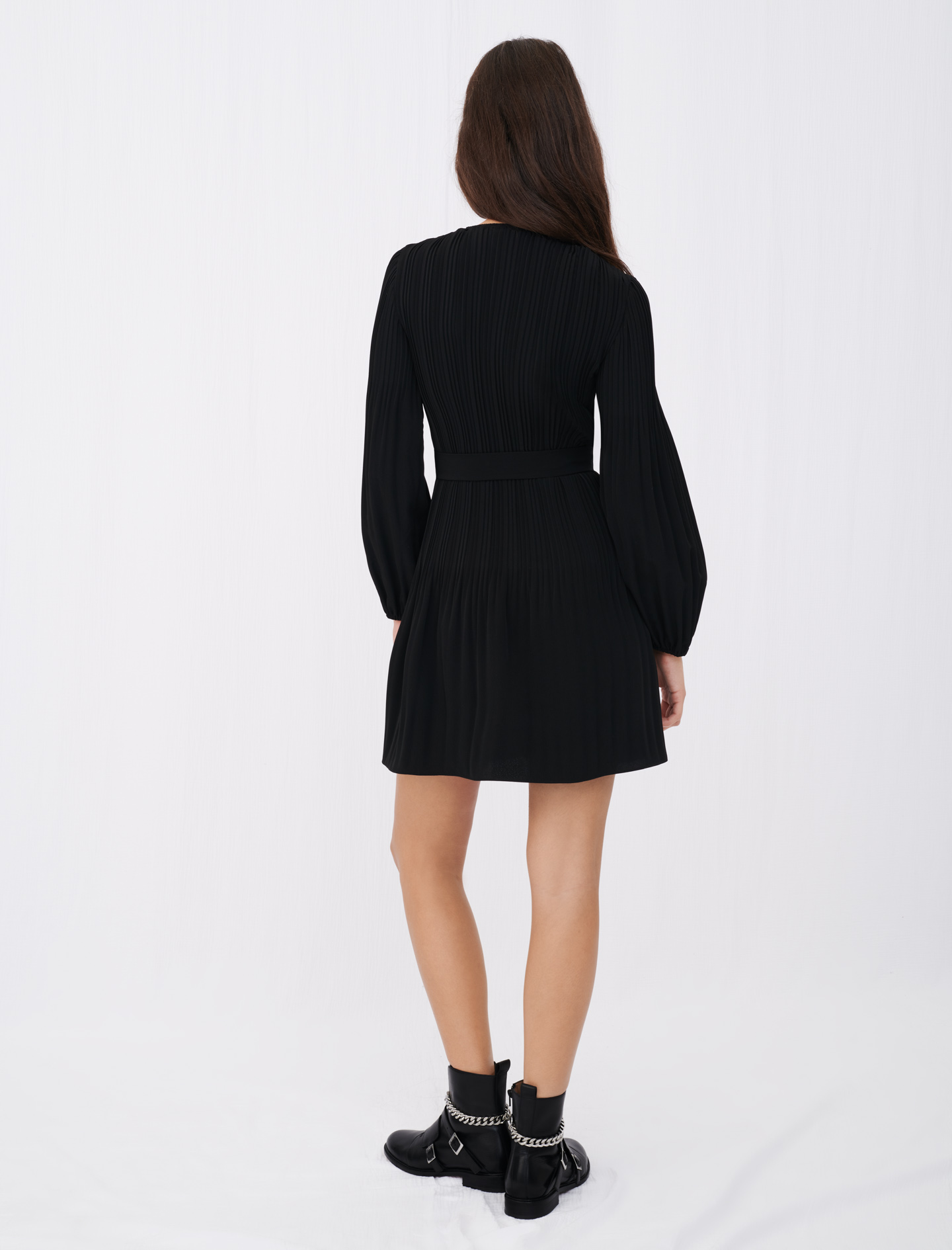 Maje rochanie black dress with buttons and sleeves