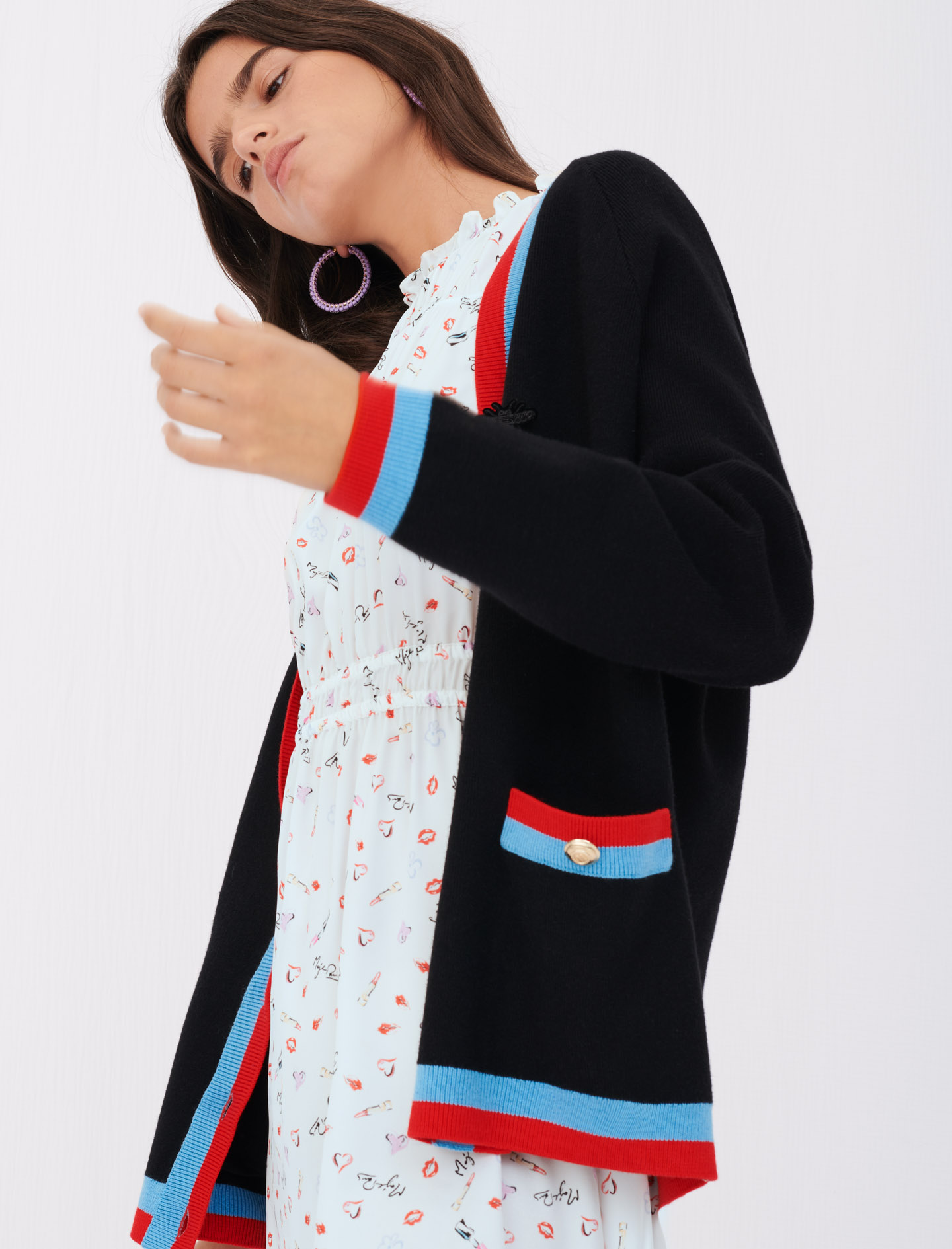 Cardigan with contrasting bands - Black