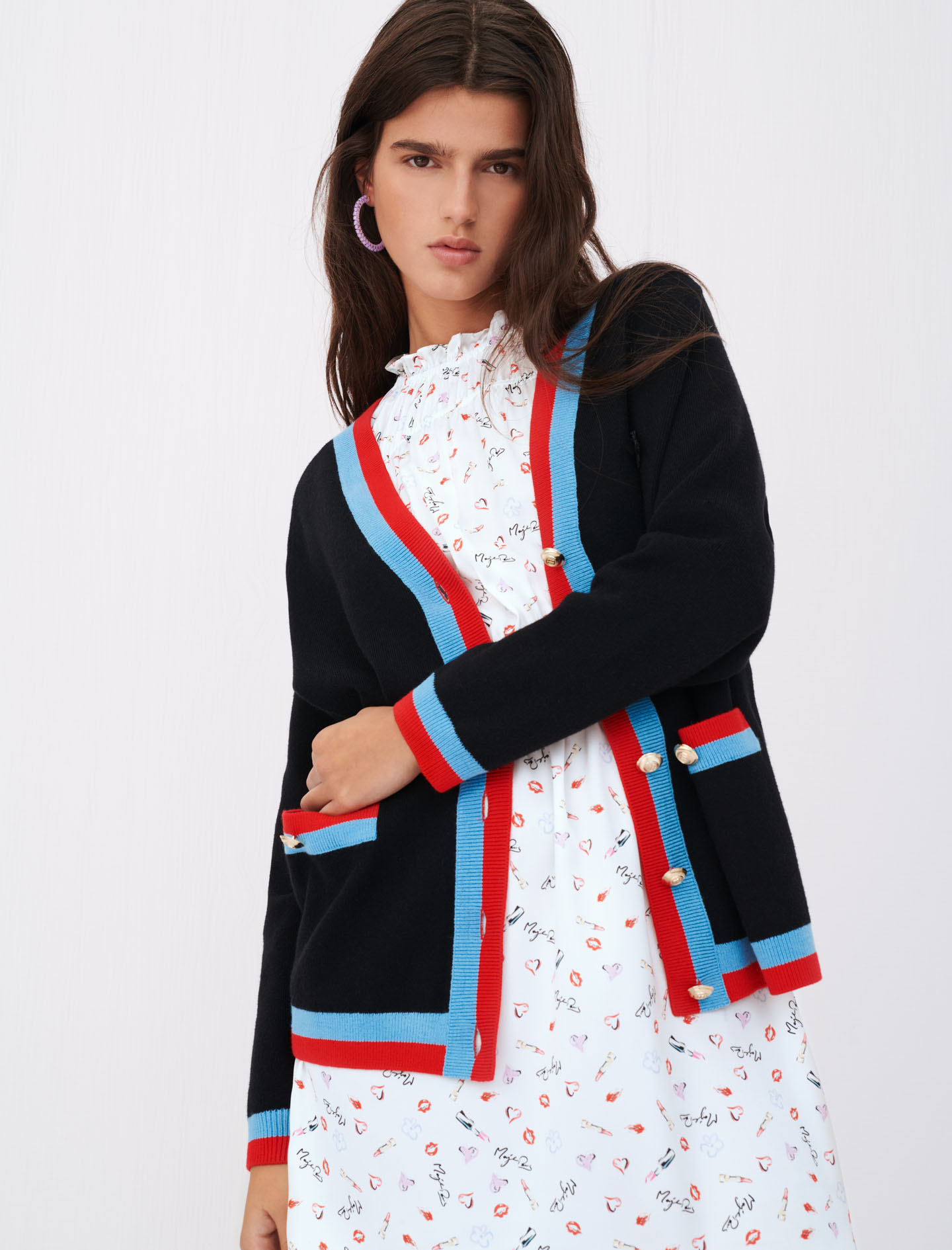 Maje mysweetie cardigan black with red and blue