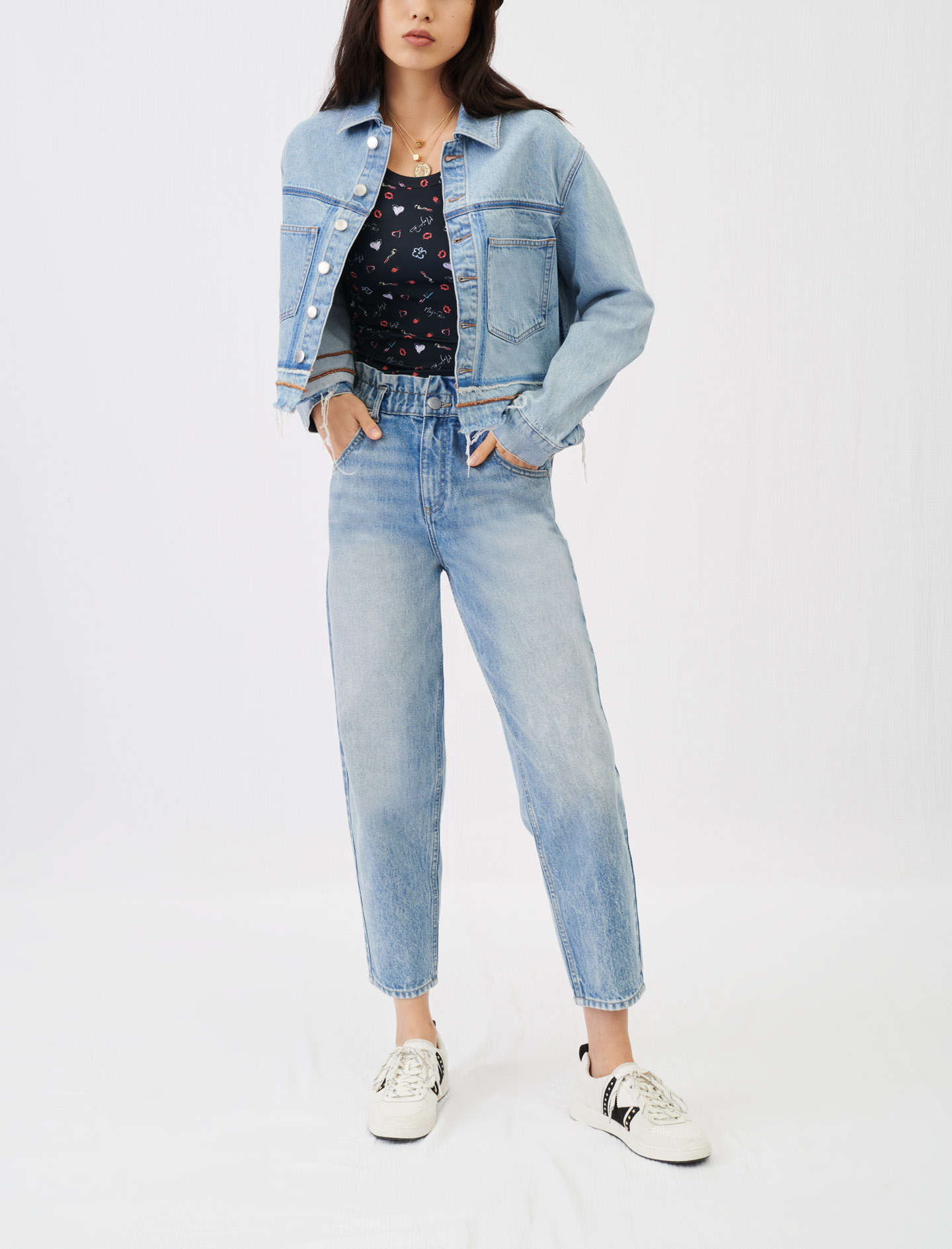 Wide jeans with elasticated waistband - Blue
