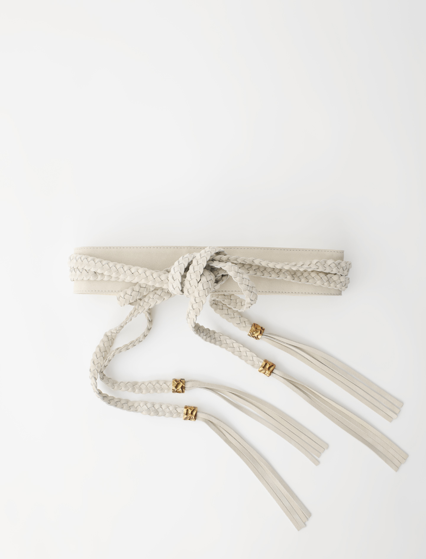 Maje Suede belt with braided ties